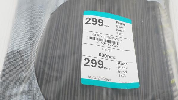 Sapim Race 299mm J-Bend 2.0//1.8//2.0 Wheel Spoke Bag of 500 Blk SSRA20K-299 New