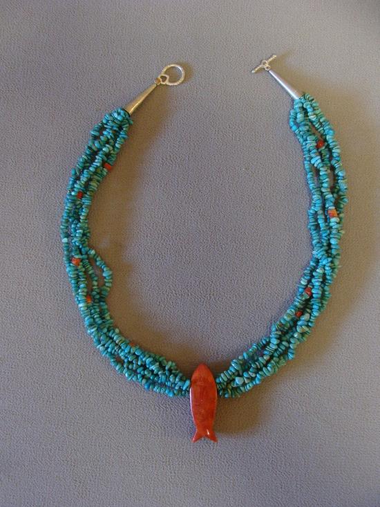 Vintage Navajo  5 Strand Turquoise Heishi Necklace & Pendant