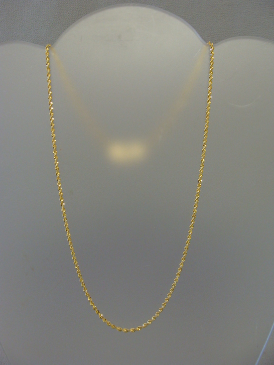 Pure 14k Gold Bright Cut Twist Rope Cain Necklace 20