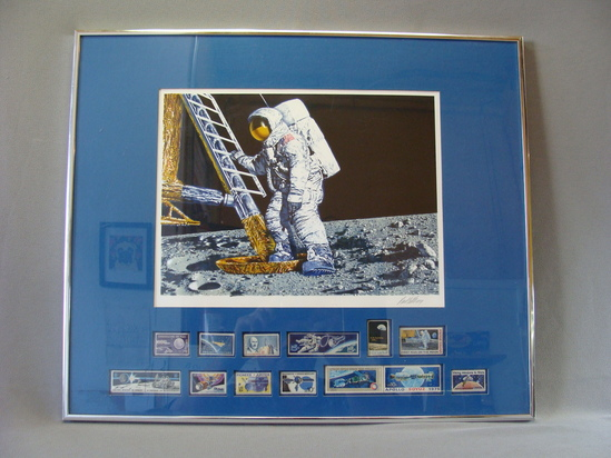 Original Signed Paul Calle The Conquest of Space Stamp Collection Franklin Mint
