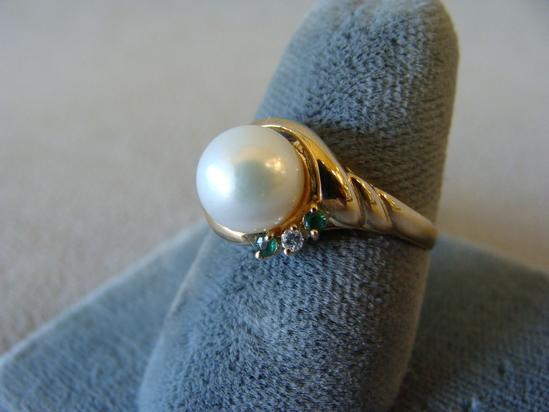 Vintage 14k 585 Gold & Pearl Ring + Emerald & Diamond Size 6