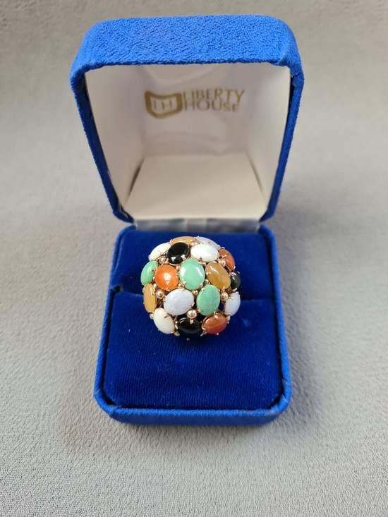 Large Vintage 14K Gold Multi-color Chinese Jade Cabochon Fancy Ring Size 7+