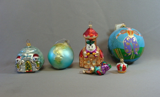 Lot of 5 RADKO Christmas Ornaments Igloo Jester Humpty Aladdin Earth Crown