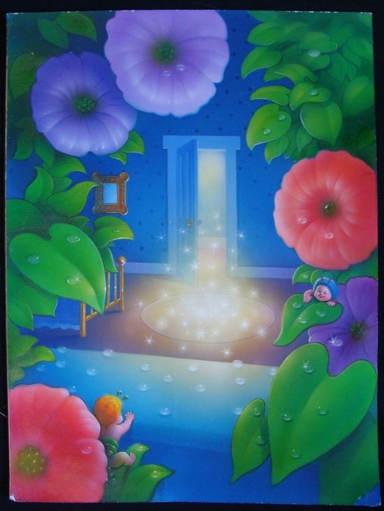 Fuzzy Buzzies Original Art Greg Winters Magical Door & Flowers