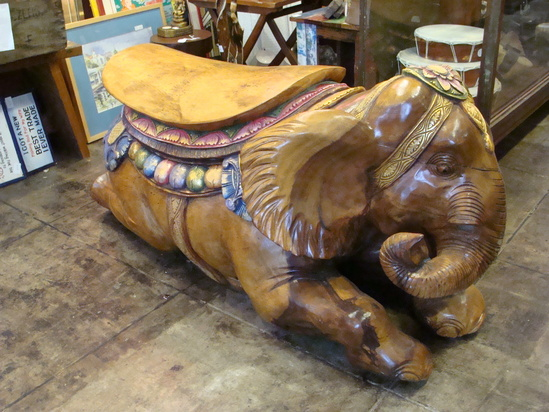 Giant Carved Solid Wood & Hand Painted Elephant Bench-Chair From Bali