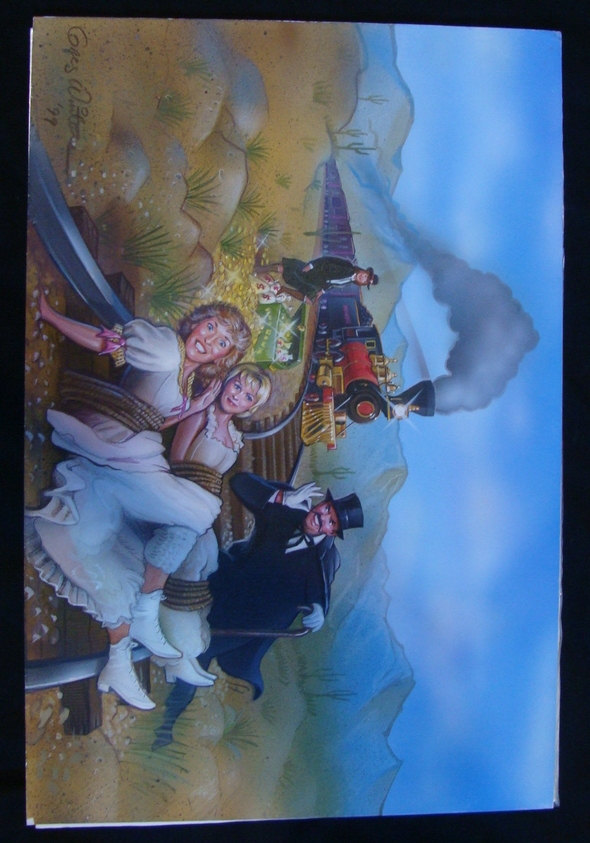 Antique Western Train Robbery Plot Original Airbrush Painting Art Winters SIGNED