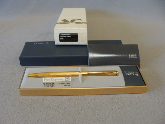 New in Box vintage Parker Insignia 23k Gold Ballpoint Pen