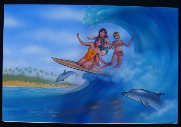 Girls And Dolphins Surfing Waves Tropical Original Airbrush Art Winters SIGNED