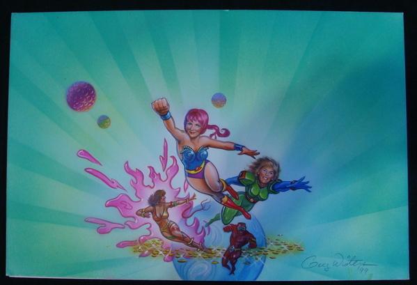 Super Women Flying Superhero Original Airbrush Painting Art Winters SIGNED