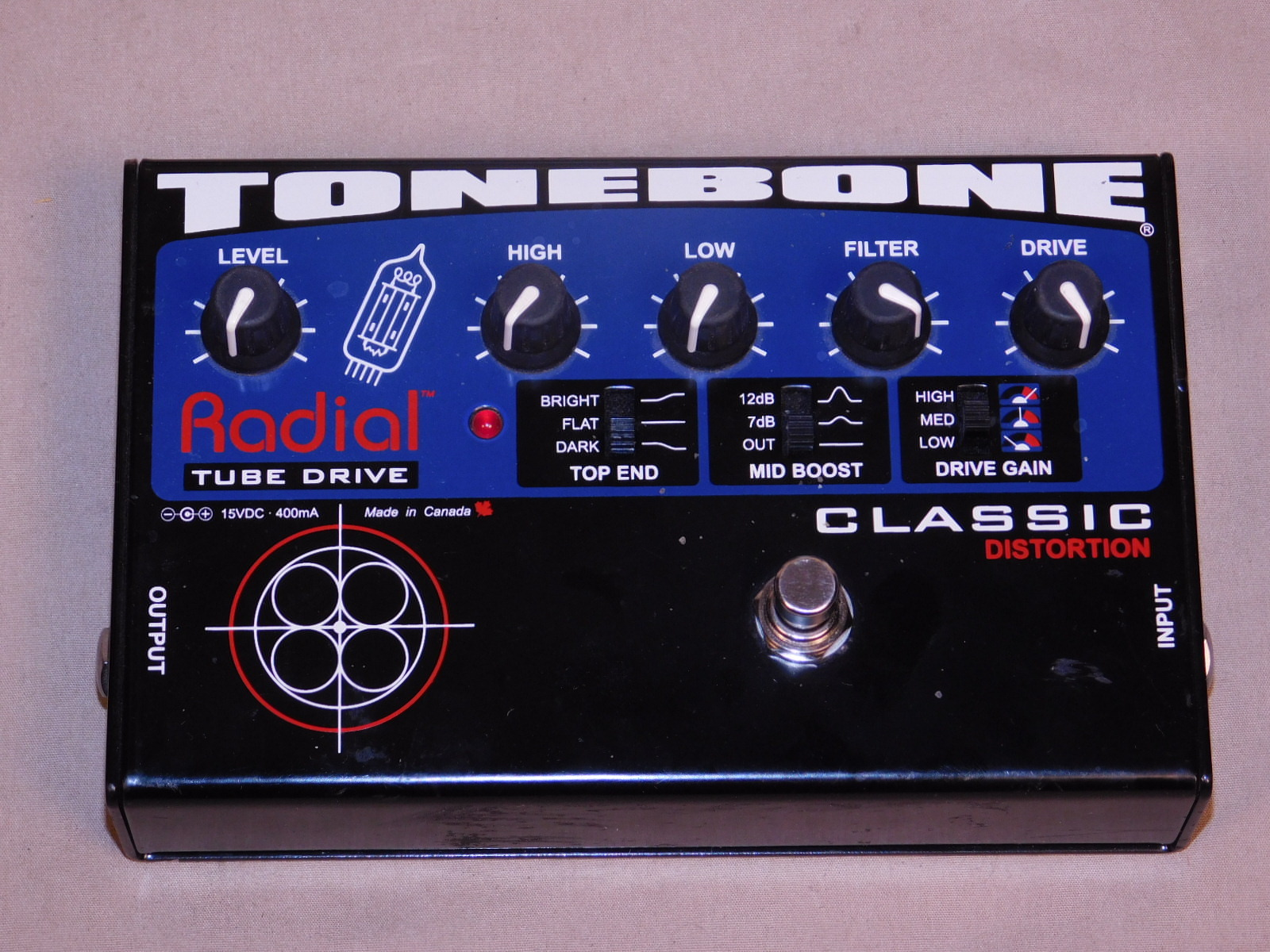 RADIAL TONEBONE CLASSIC Distrotion EFFECTS PEDAL in BOX WITH ADAPTER!!!