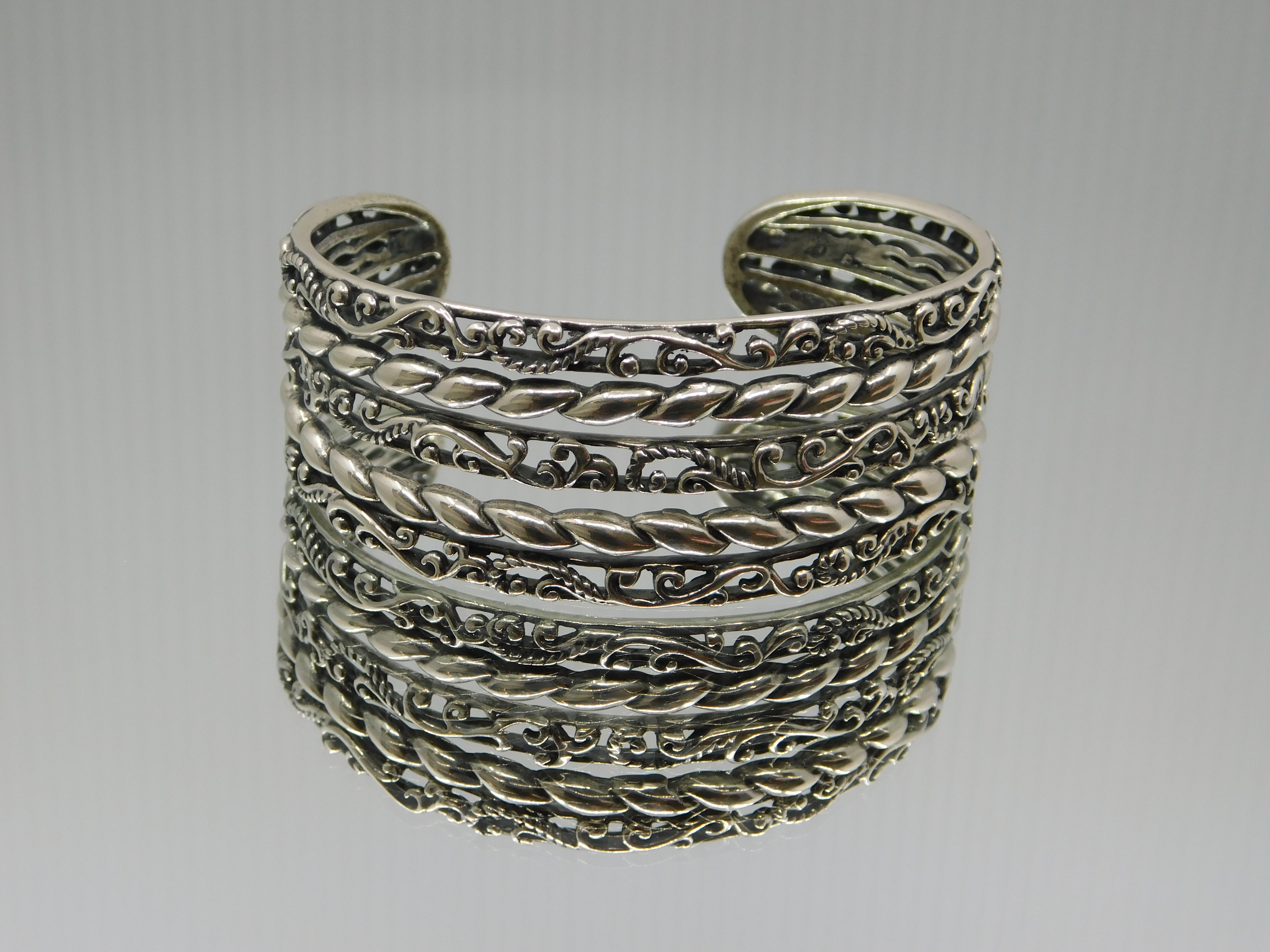 CAROLYN POLLACK 5 BAND WIDE ROPE AND SCROLL CUFF BRACELET
