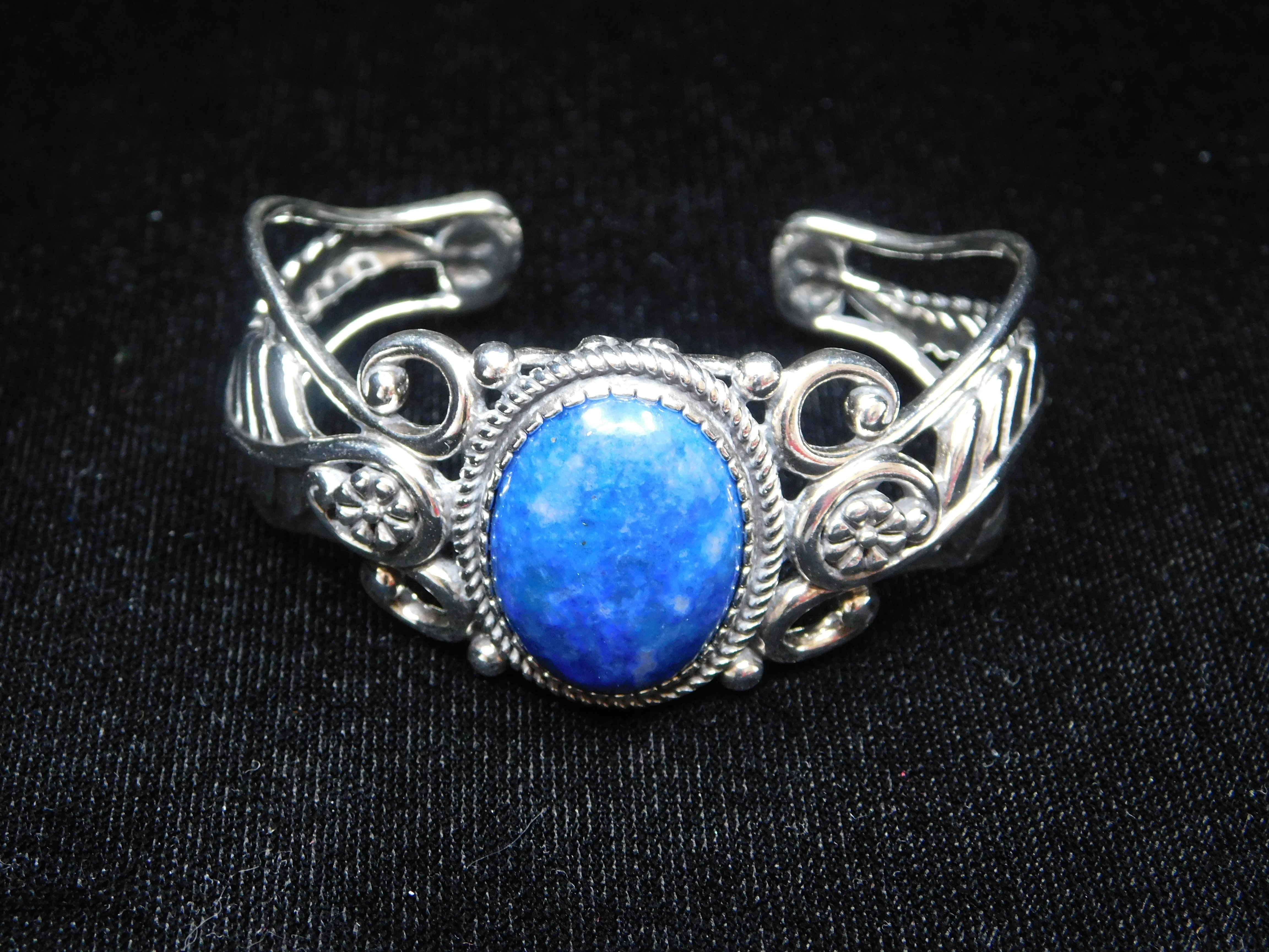 AMERICAN WEST LAPIS LEAF AND FLOWER CUFF BRACELET