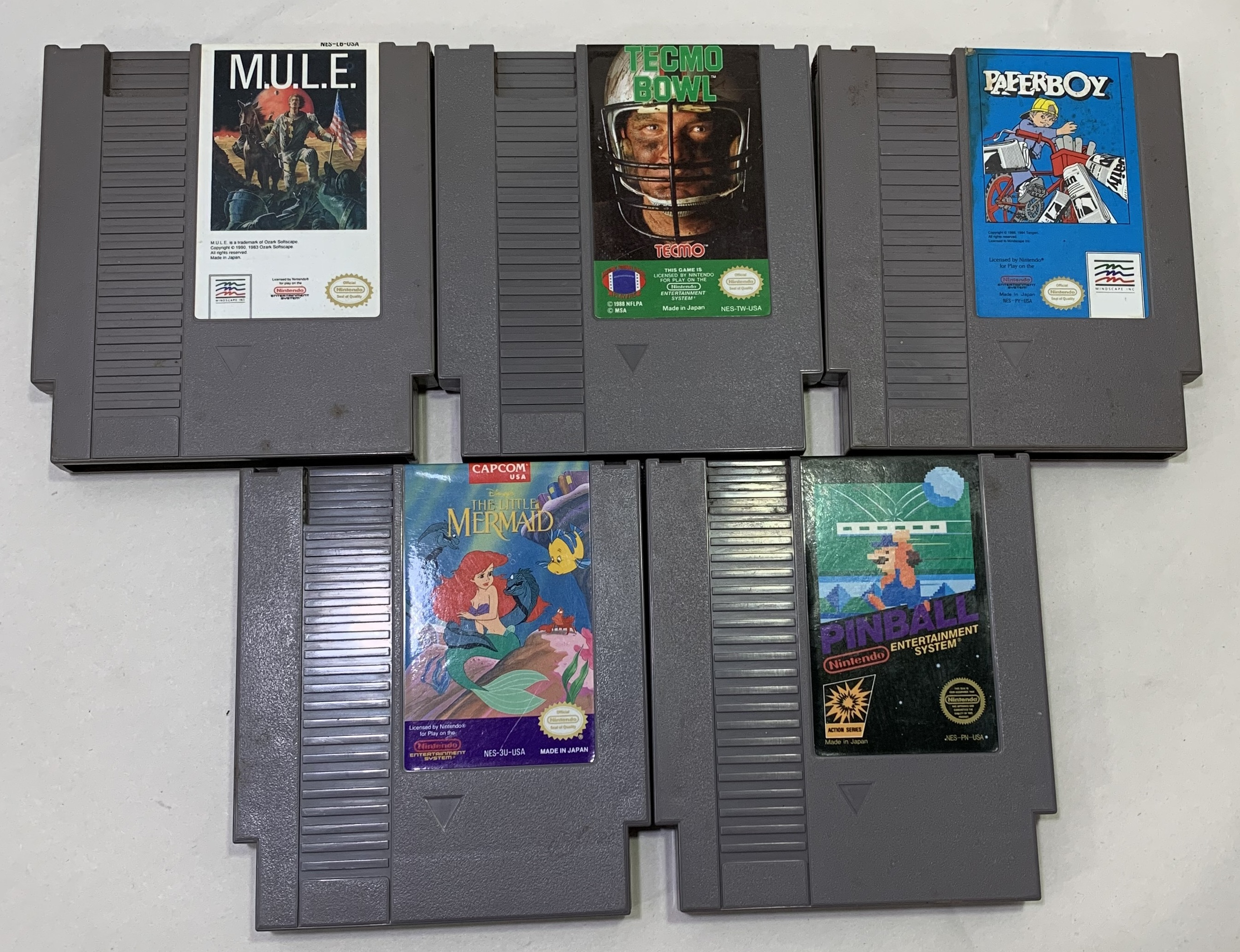 Lot of NES Games - Tecmo Bowl - Paper Boy - M.U.L.E - Pinball - Little Mermaid