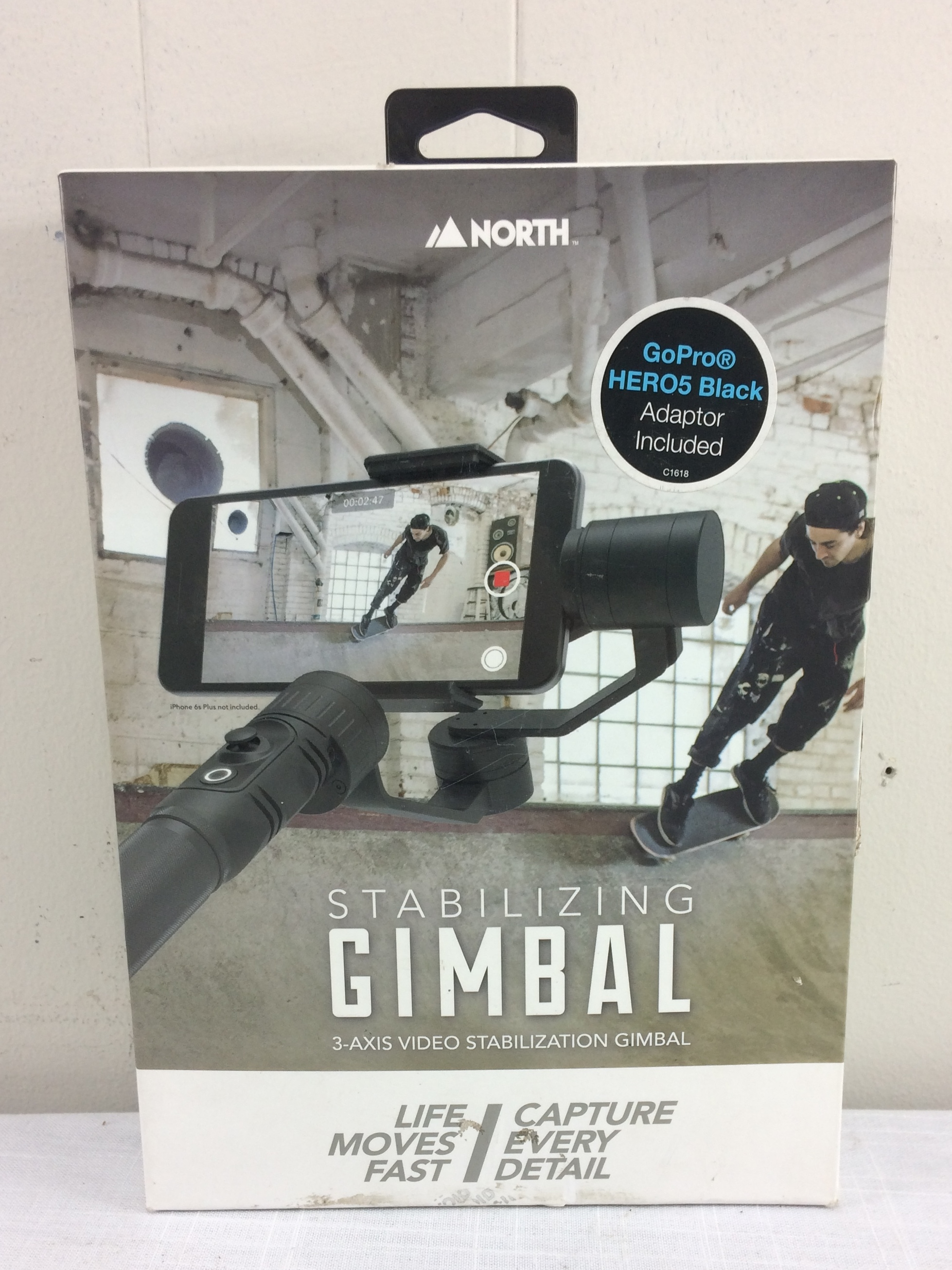 North Stabilizing Gimbal 3-Axis for Mobile Phone with Adapter for GoPro Hero 5
