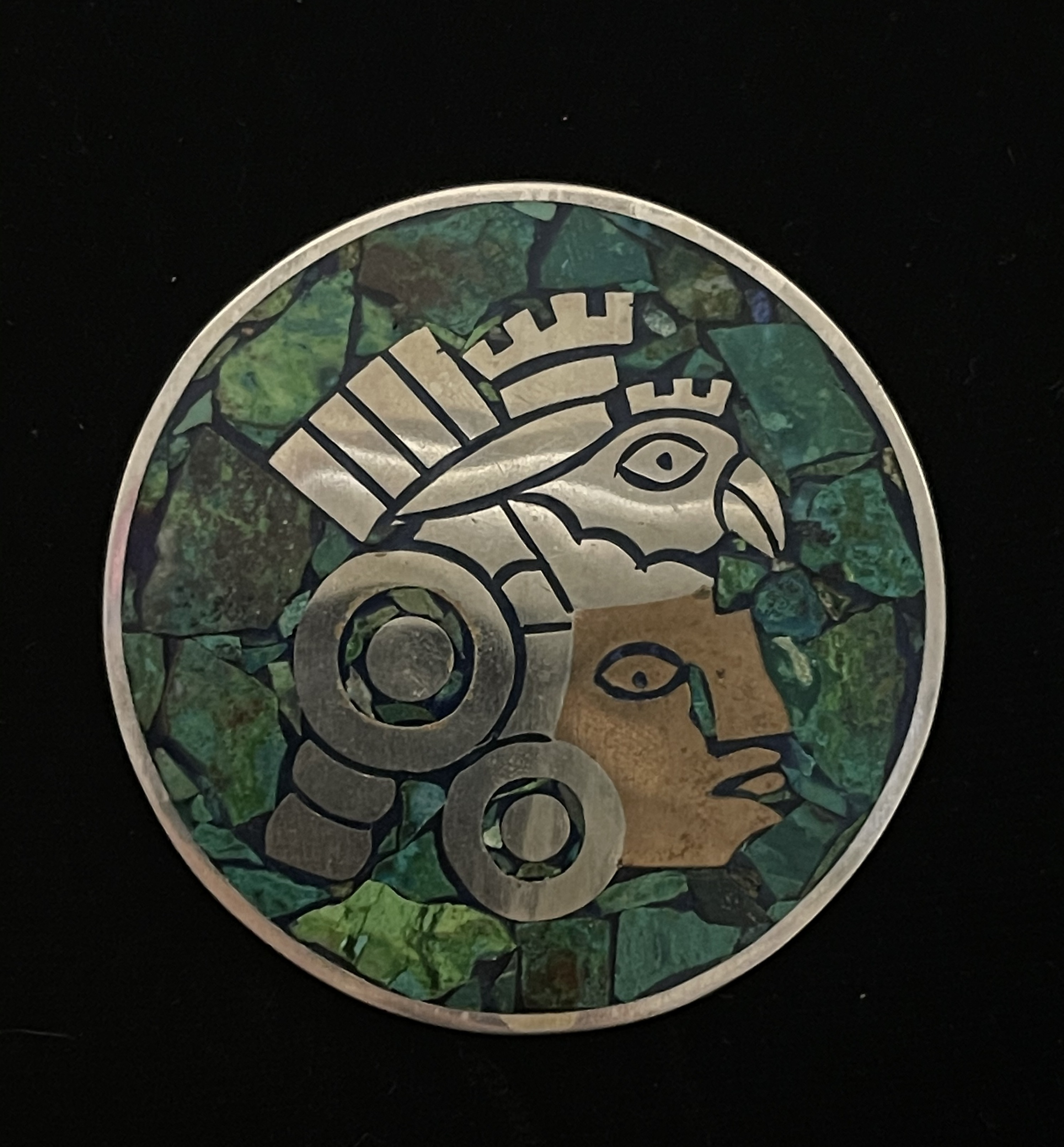 Antonio Hernandez Taxco Metales Sterling Silver and Turquoise Pin/Pendant