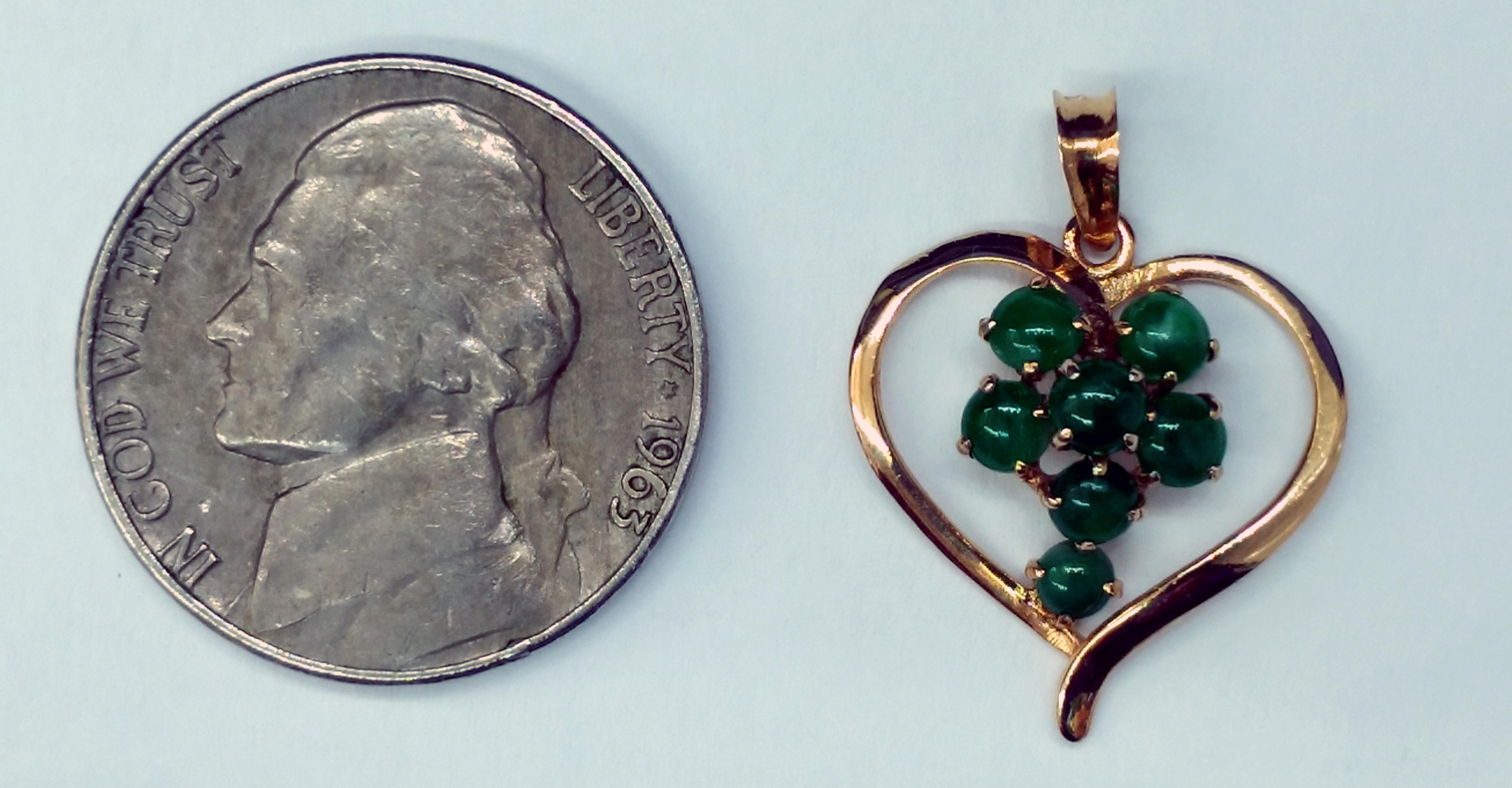 Seven Jade Stones Set in 14kt Yellow Gold Heart Shape Pendant