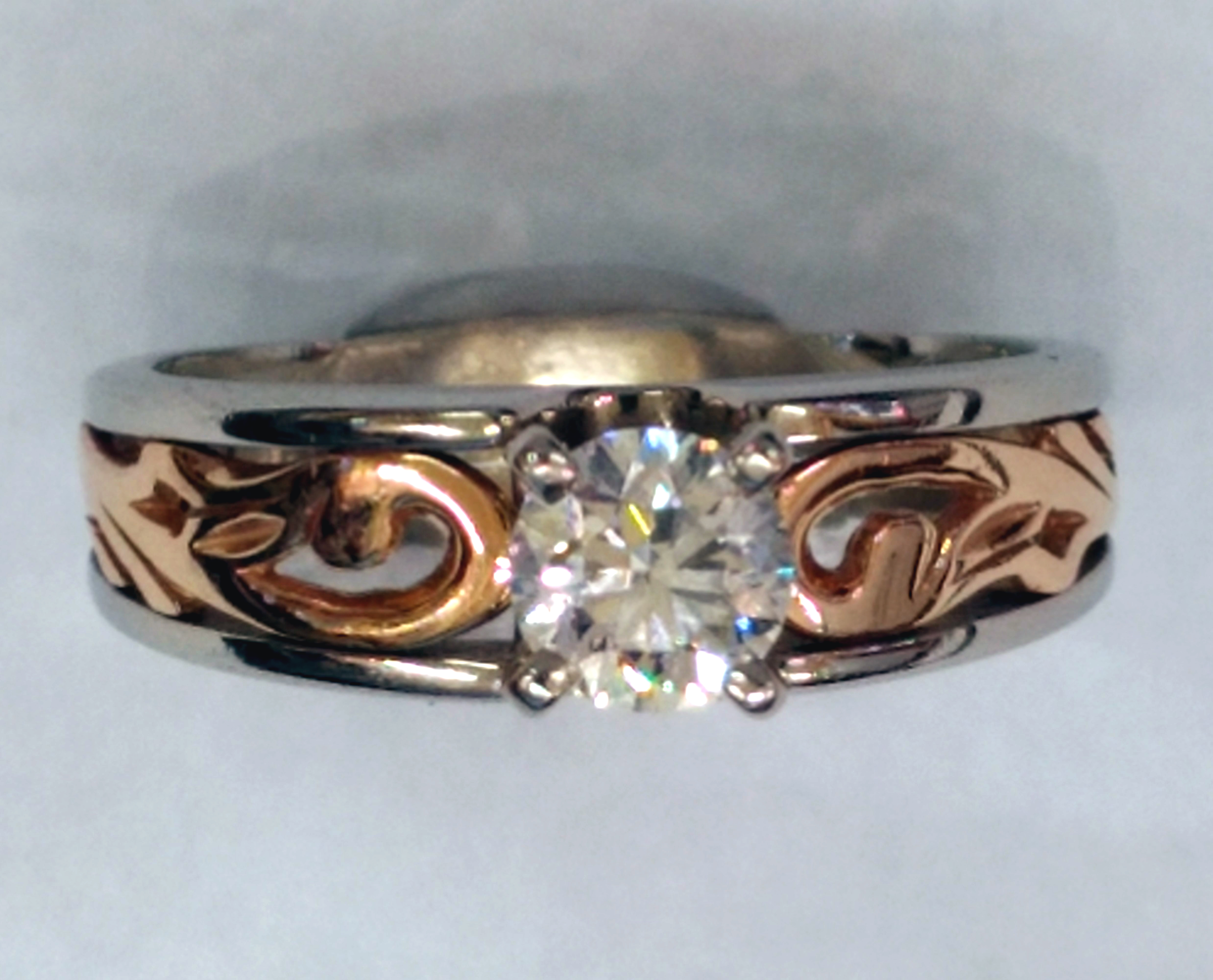 Na Hoku 0.55 Carat Brilliant Diamond Solitaire 14kt Two-Tone Gold Ring - Size 9
