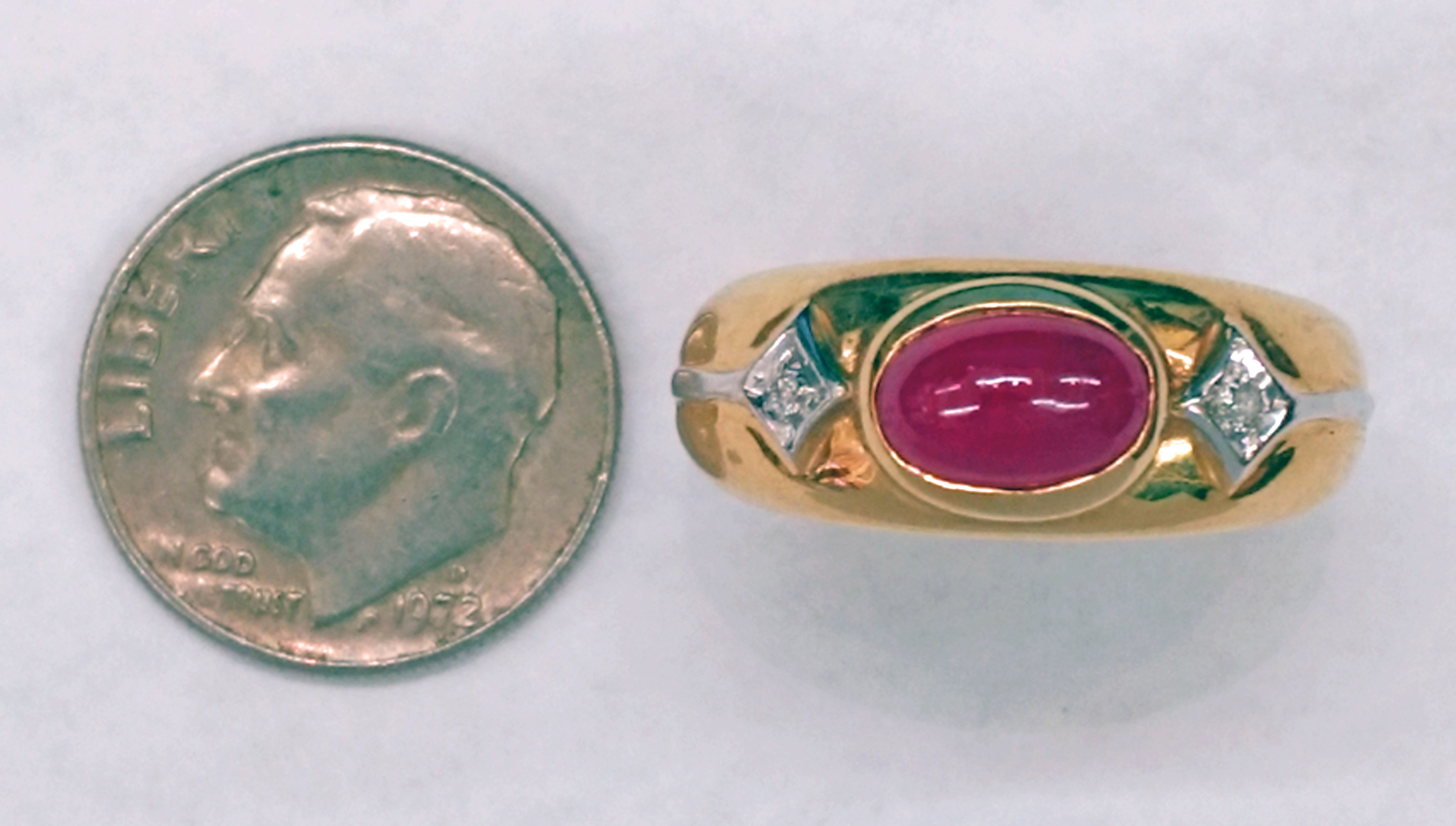 Oval Ruby Cabochon and Diamonds Set in 14kt Yellow Gold Ring - Size 7 1/2
