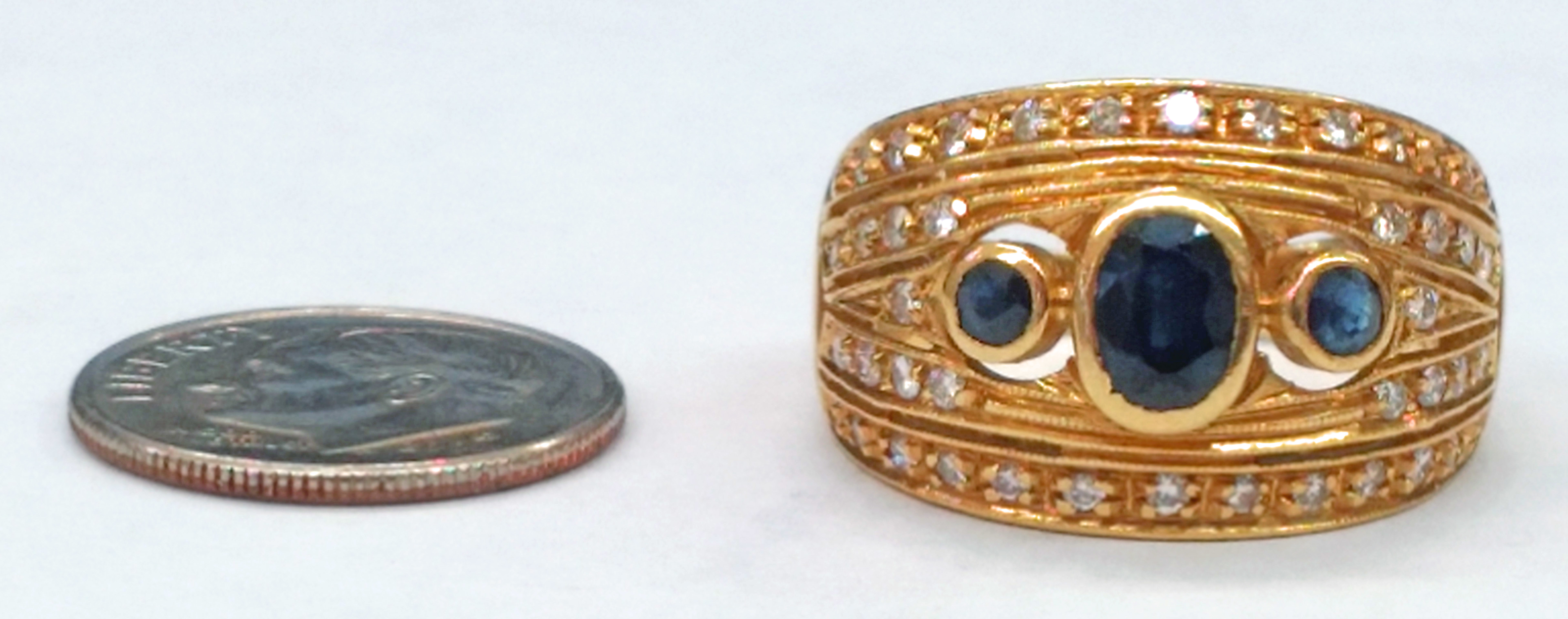 Blue Sapphires and Diamonds Set in 18kt Yellow Gold Ring - Size 8  -  SOLD AS IS