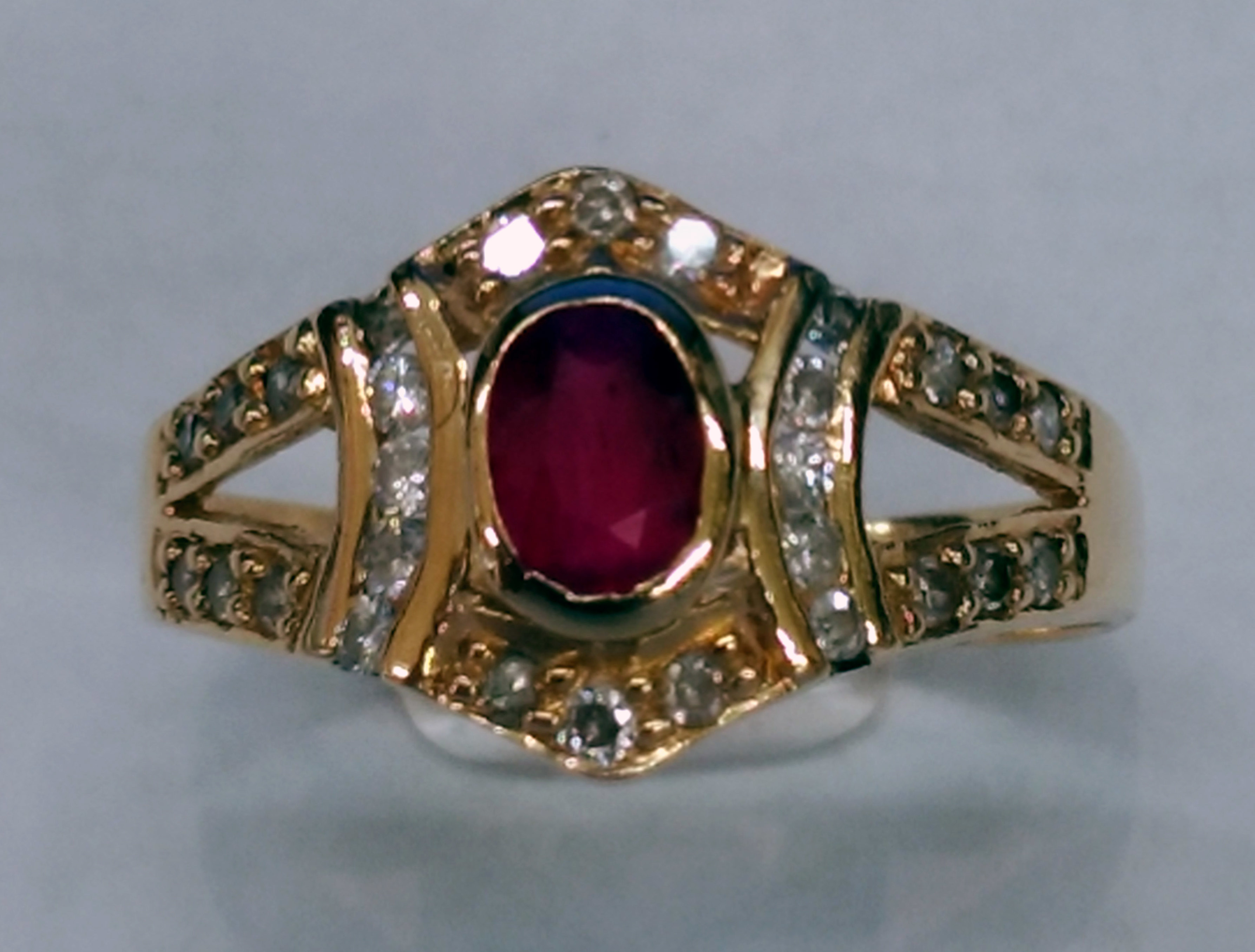 Oval Shape Ruby and Diamond 14kt Yellow Gold Ring - Size 7