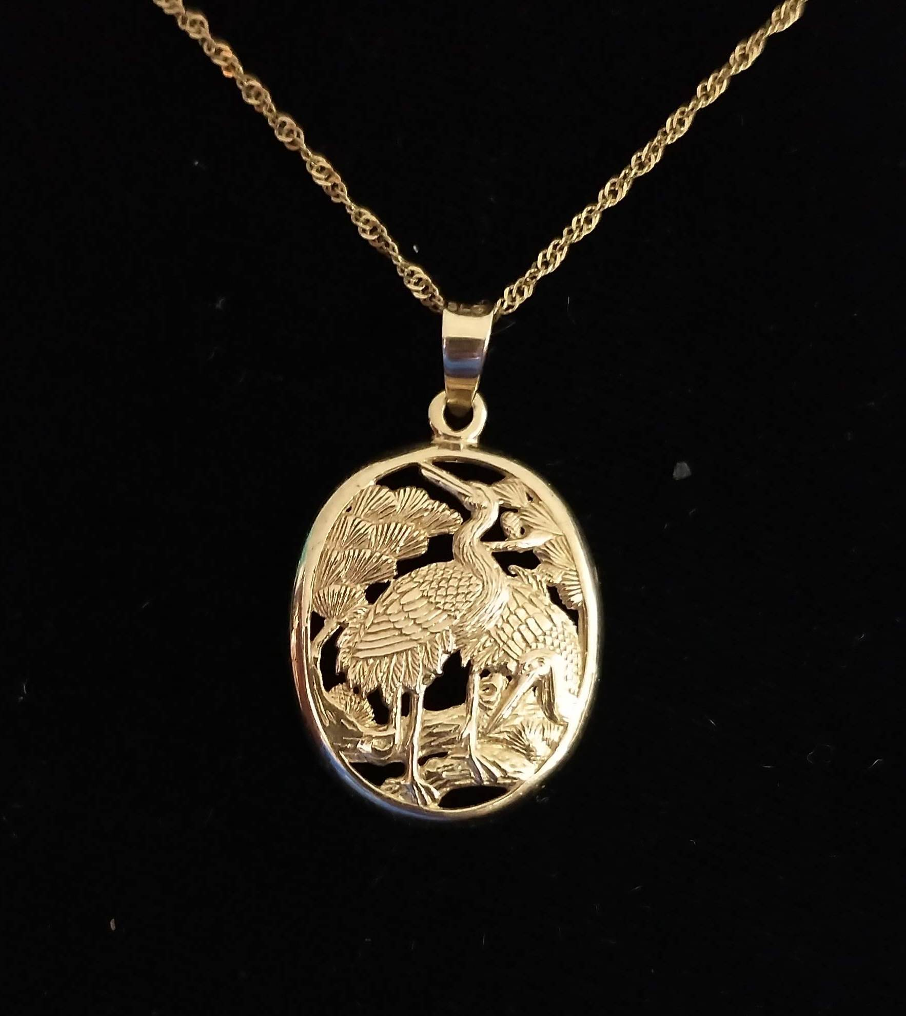 14k Yellow Gold Signed Steven Lee Hawaii Crane Oval Pendant on 14kt 18