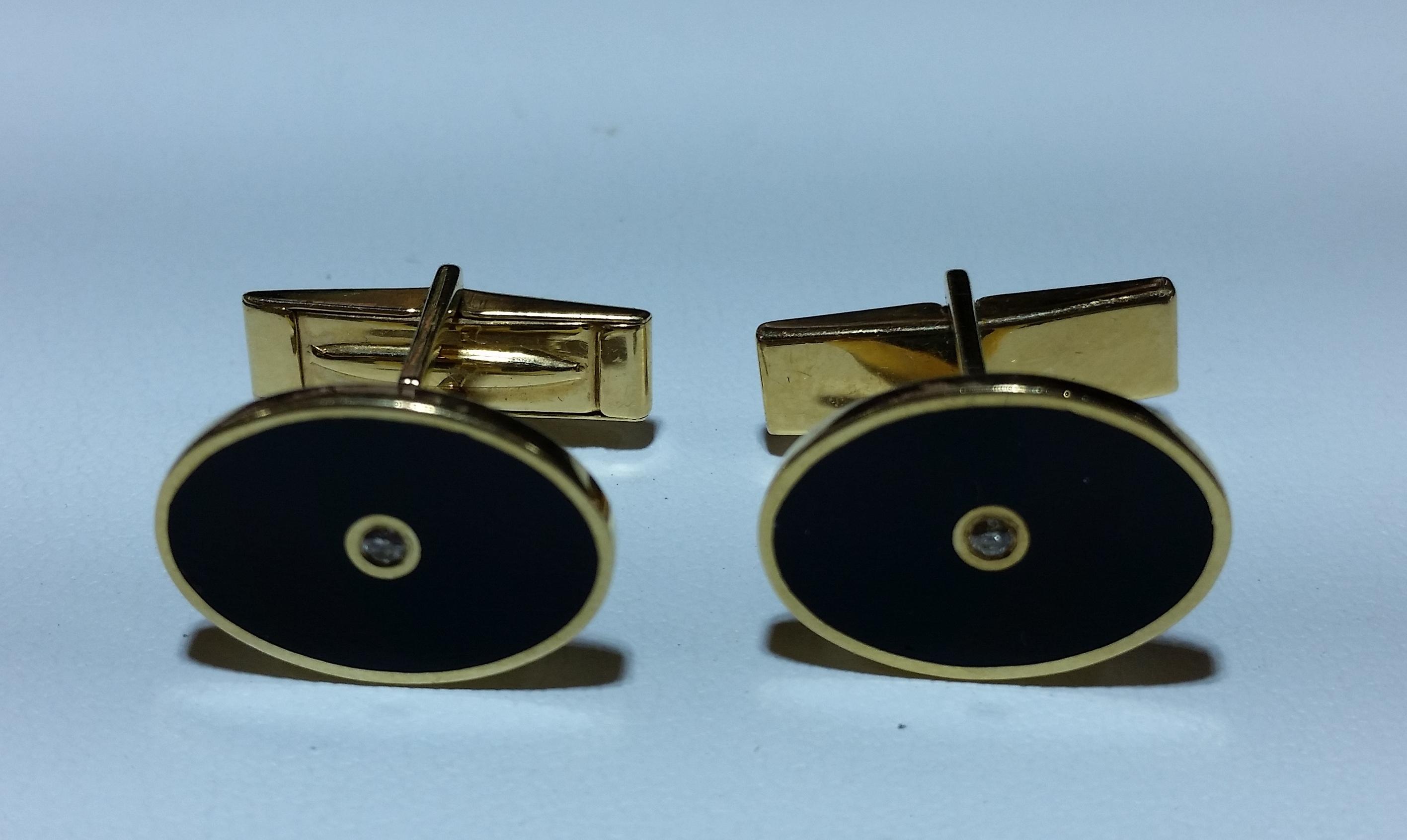 14k Yellow Gold Oval Cufflinks with Bezel Set Black Onyx and .01 Carat Diamond
