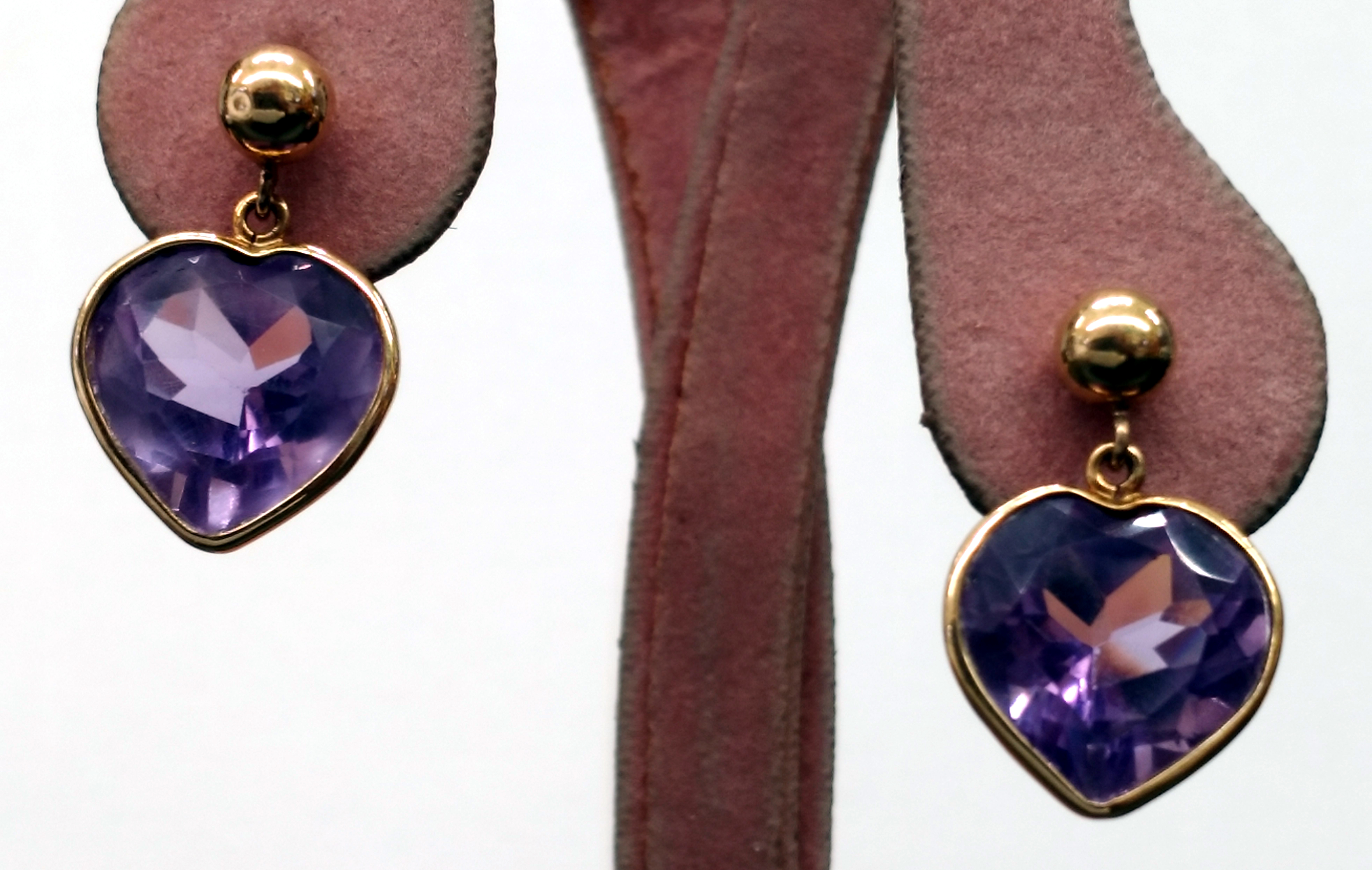 Amethyst Heart Shaped 14kt Yellow Gold Post Earrings with Small Butterfly Backs