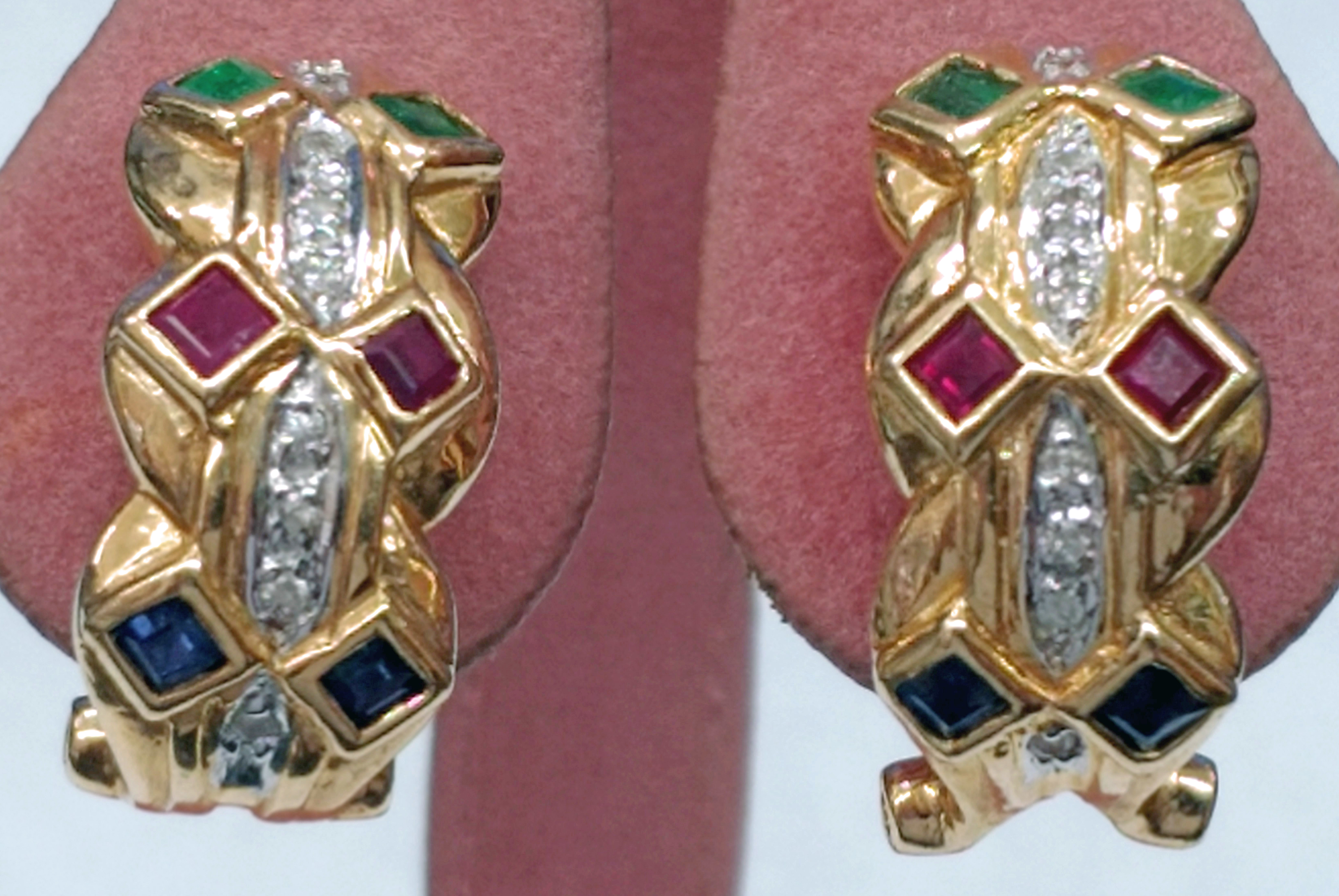 Emerald, Ruby, Sapphire and Diamond 14kt Yellow Gold Earrings with Omega Backs
