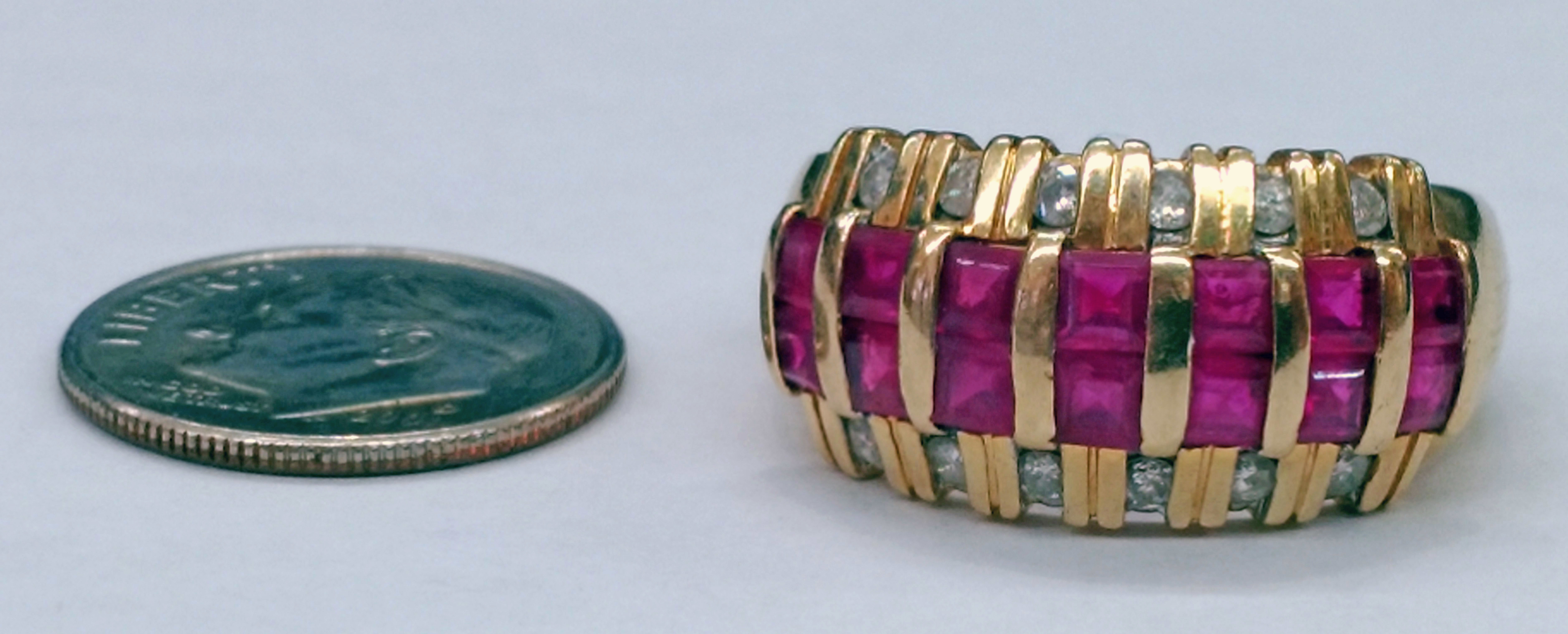 Ruby and Round Brilliant Diamonds Set in 14kt Yellow Gold Ring - Size 9 1/2