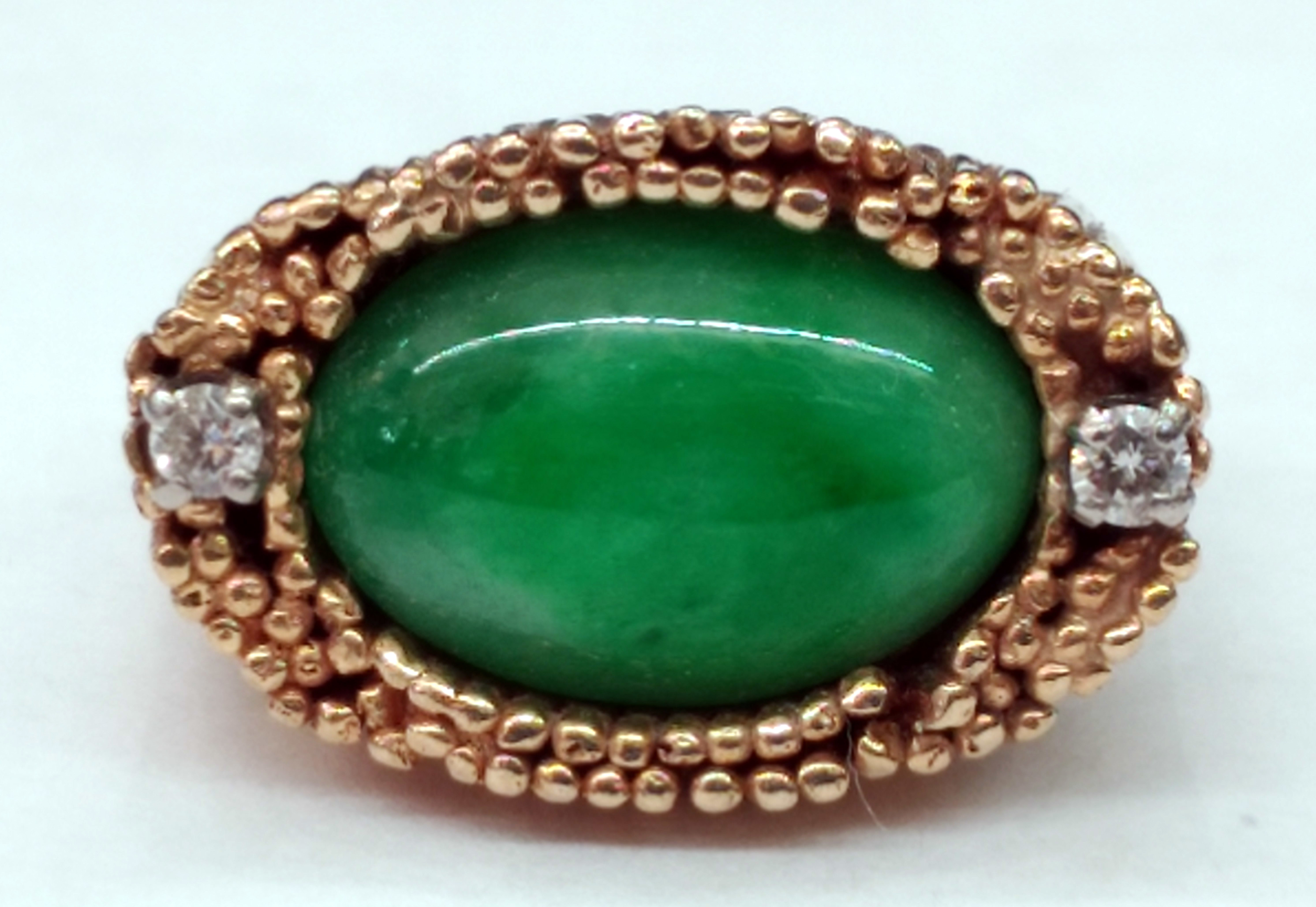 Green Jadeite Oval Cabochon and Round Diamond 14kt Yellow Gold Ring - Size 5