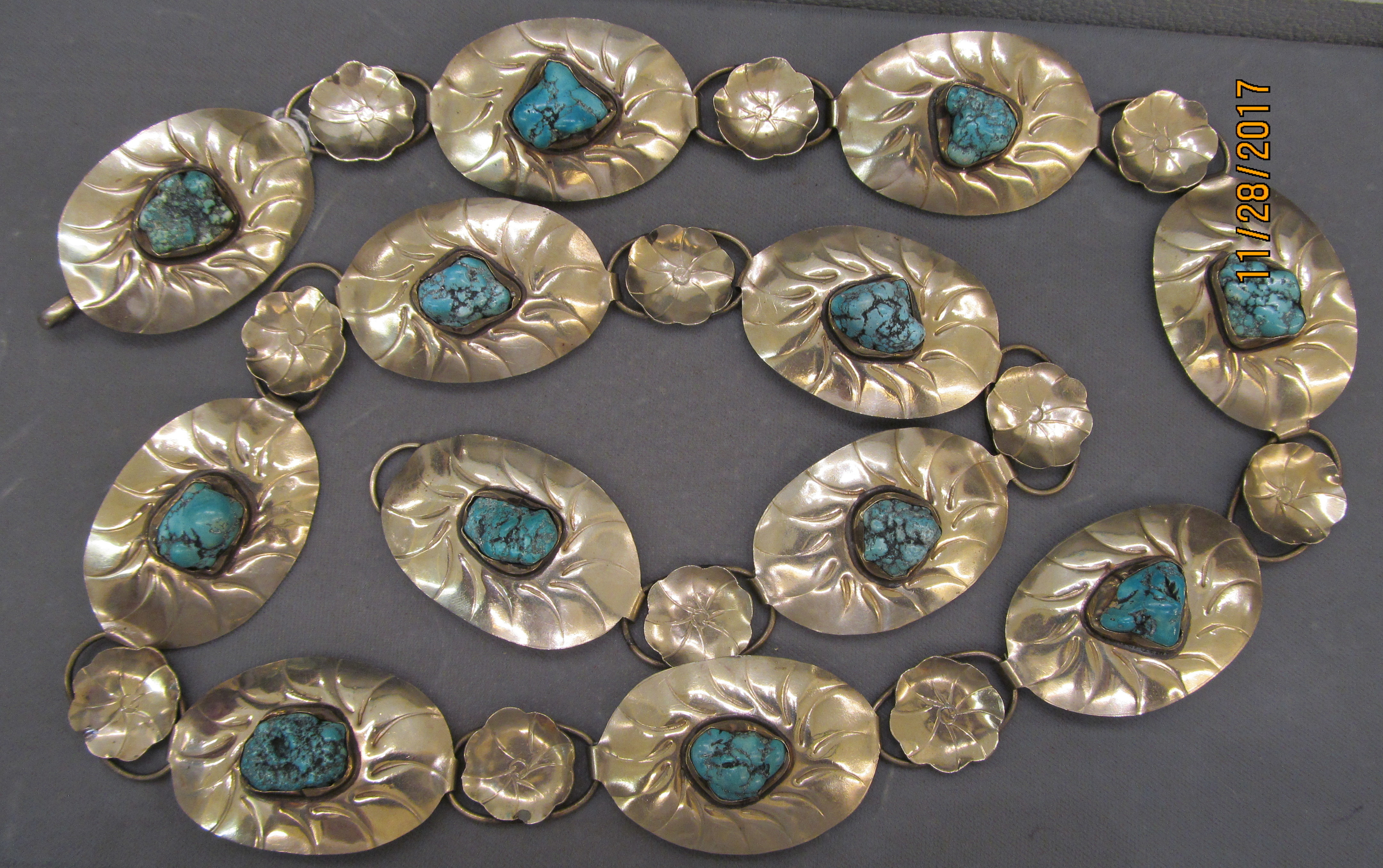 Turquoise and Sterling Silver .925 Concho Belt - 39 1/2