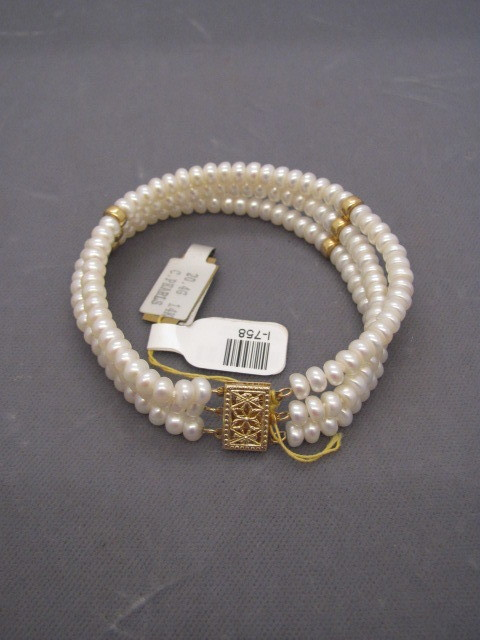 Round Pearl Three Strand Bracelet with 14kt Yellow Gold Clasp - 7