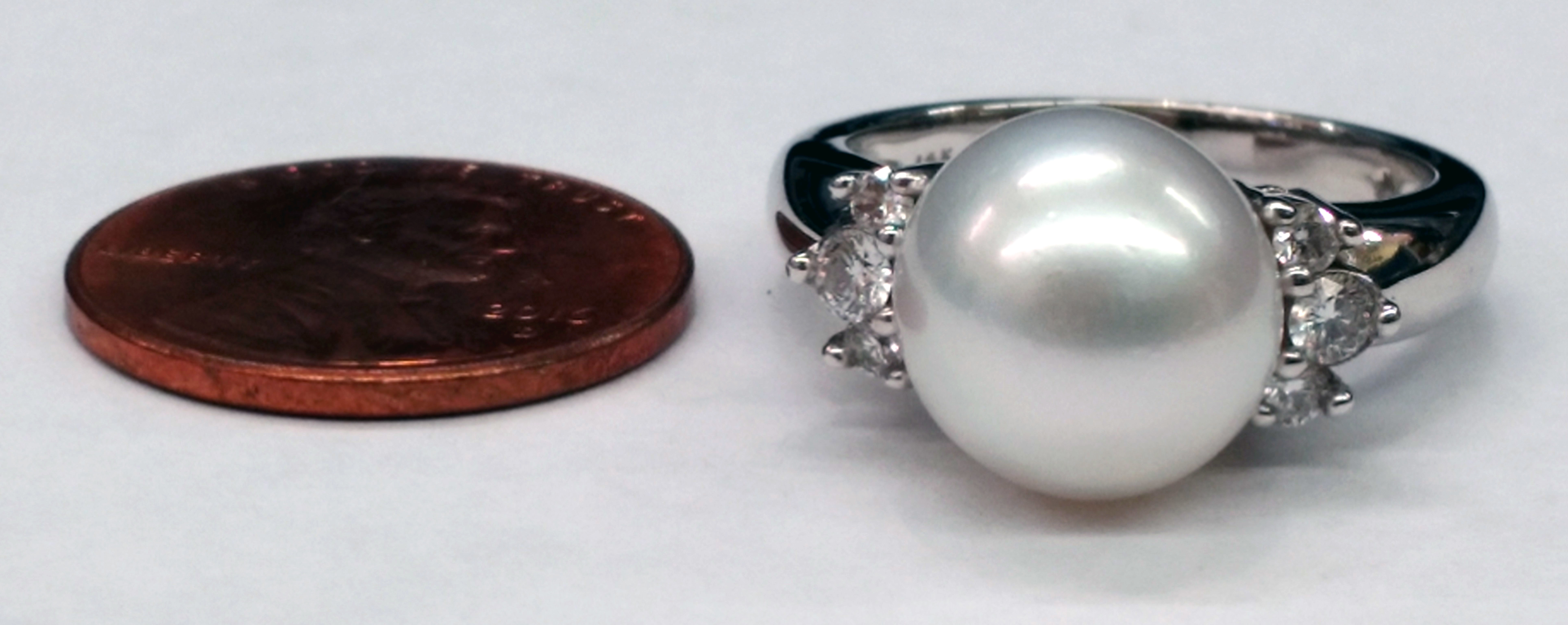 10.8mm White Pearl and Brilliant Cut Diamond 14kt White Gold Ring - Size 7 1/2
