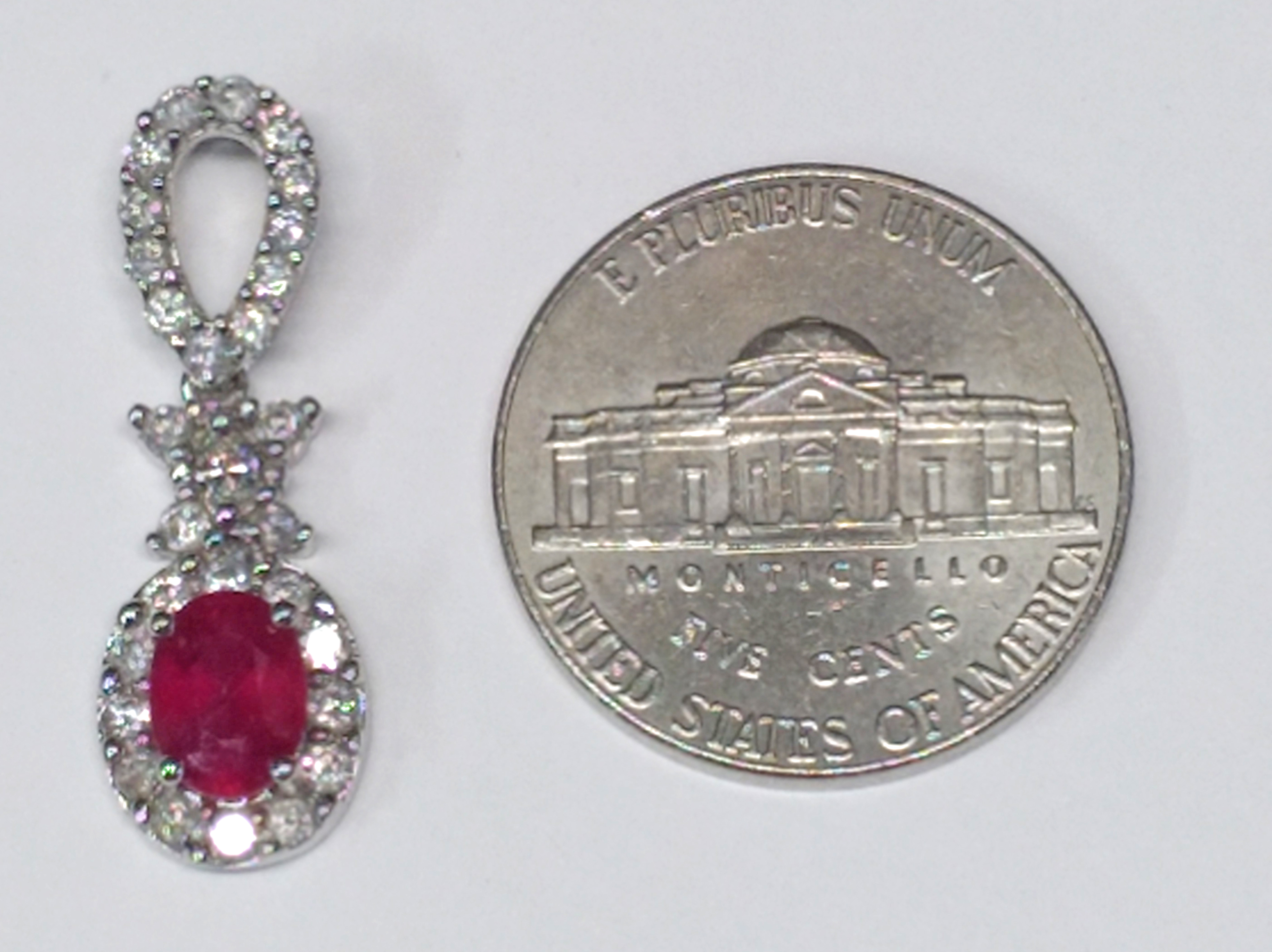 Oval Shape Ruby and Diamonds 14kt White Gold Pendant