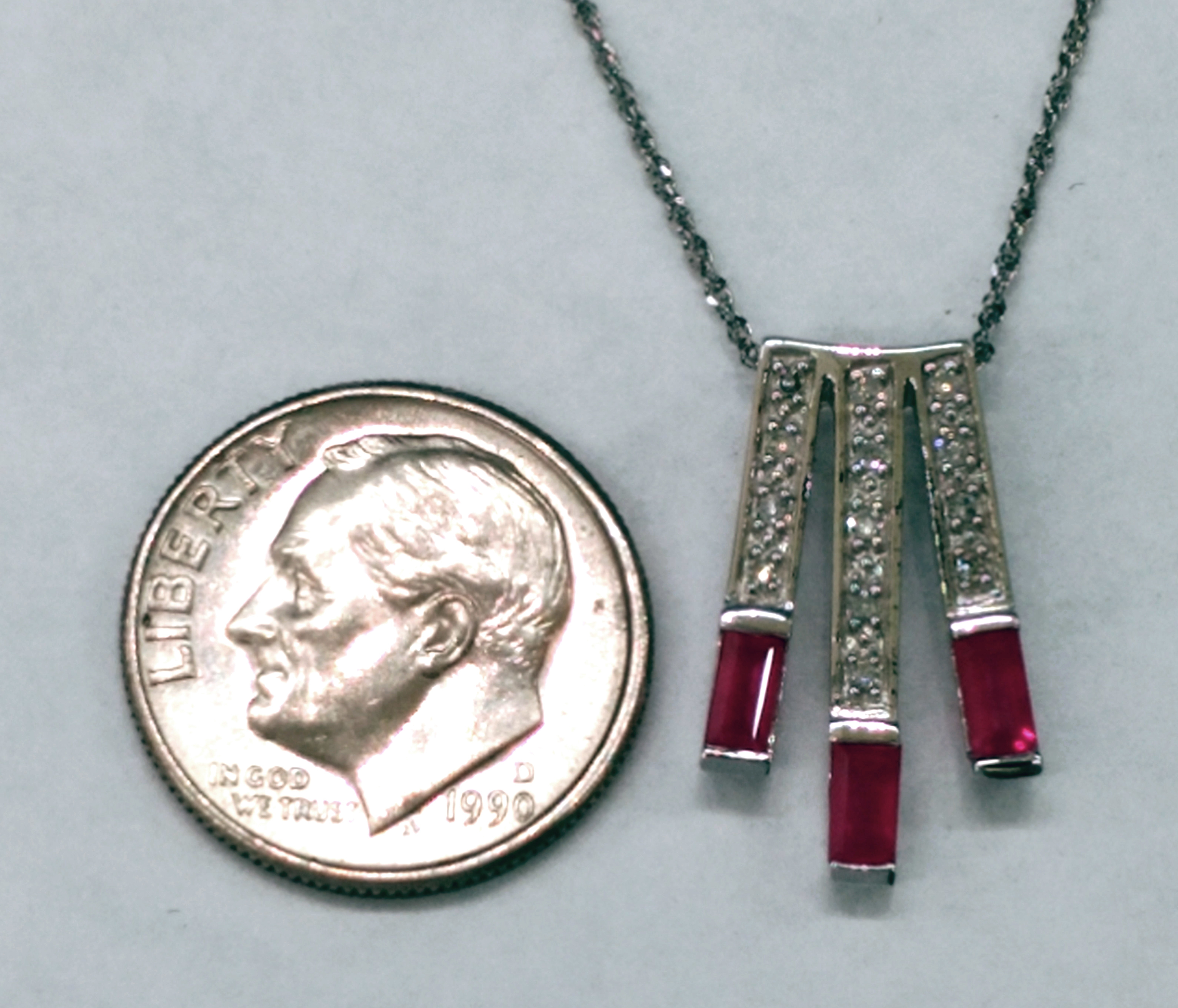 Ruby and Diamond 14kt White Gold Necklace with 18