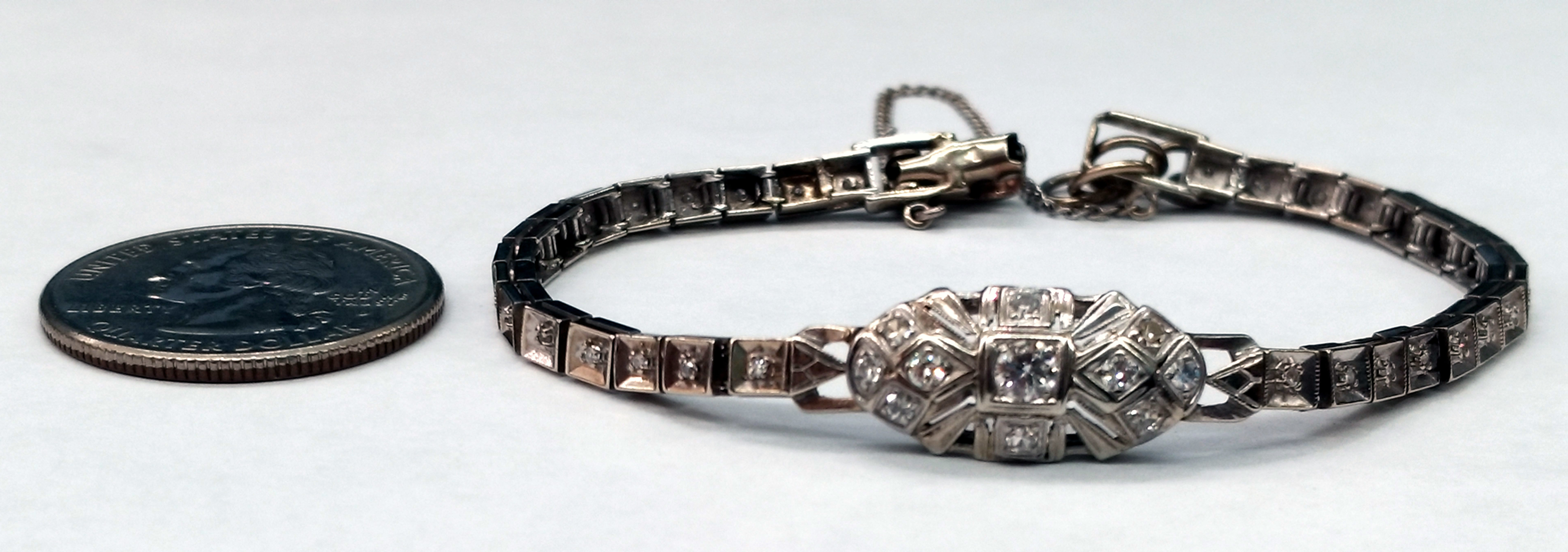 Vintage Diamond 14kt White Gold Bracelet with Safety Chain - 6 1/2