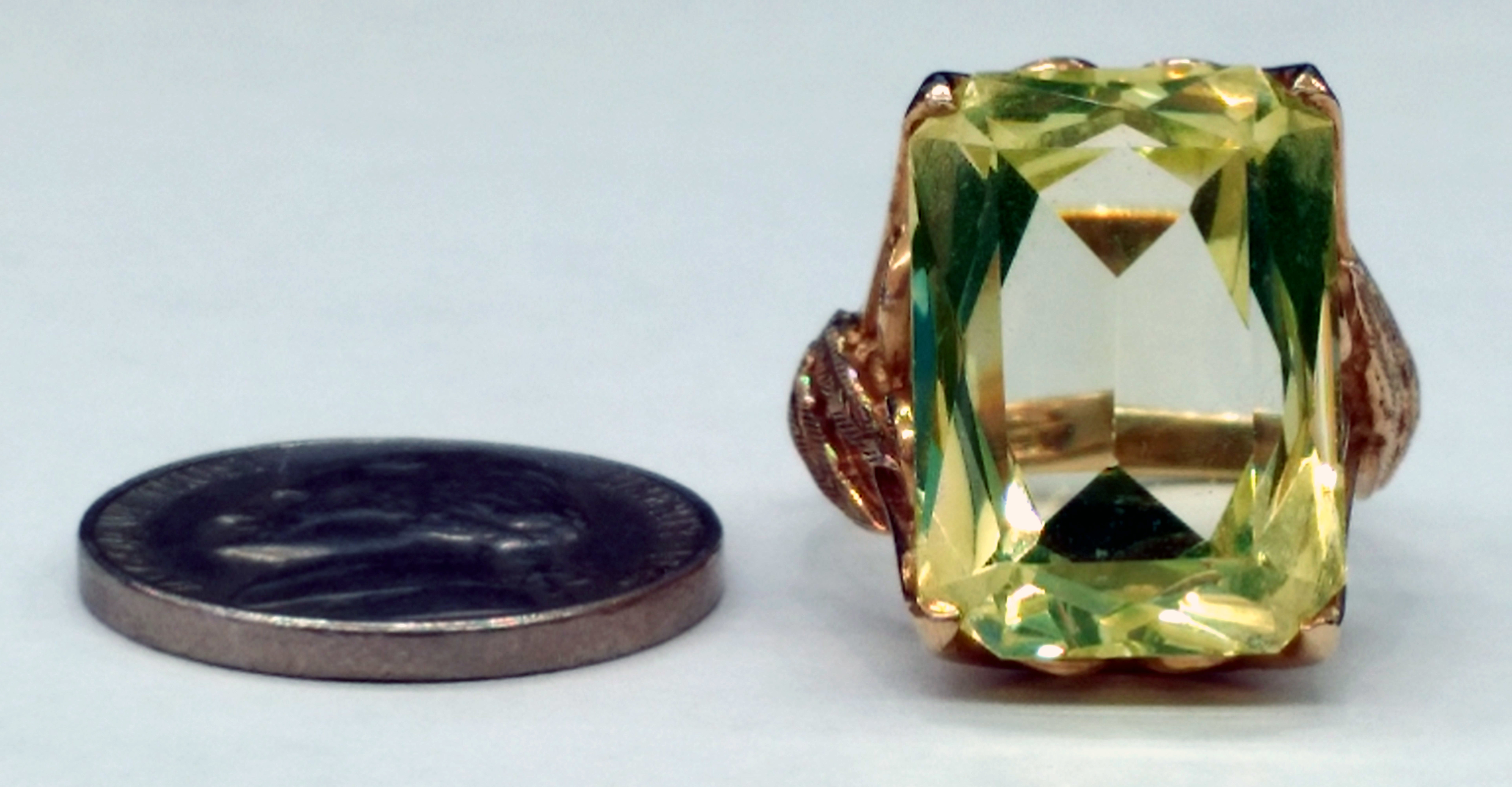 Yellow Radiant Cut Topaz Set in 14kt Yellow Gold Leaf Design Ring - Size 6 1/2
