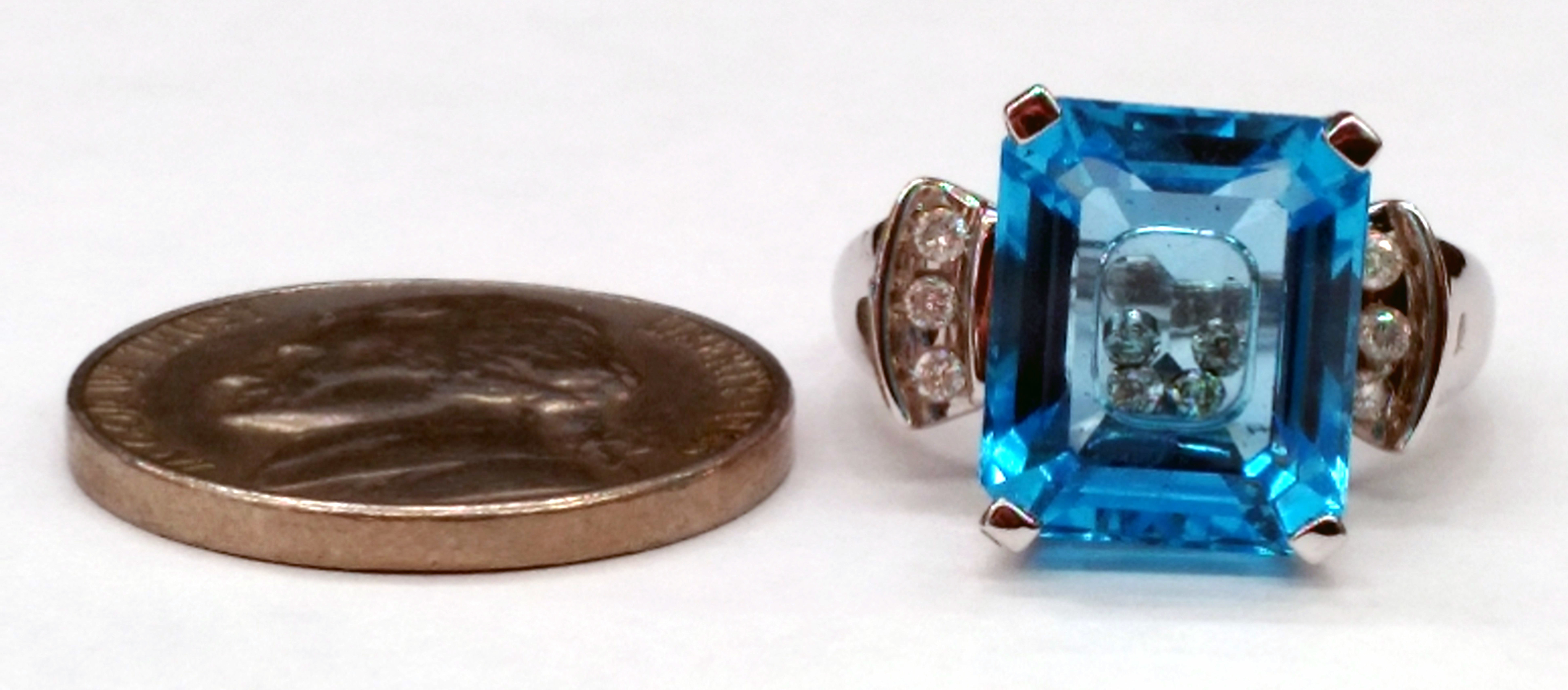 Blue Glass with Floating Diamonds 14kt White Gold Ring - Size 5