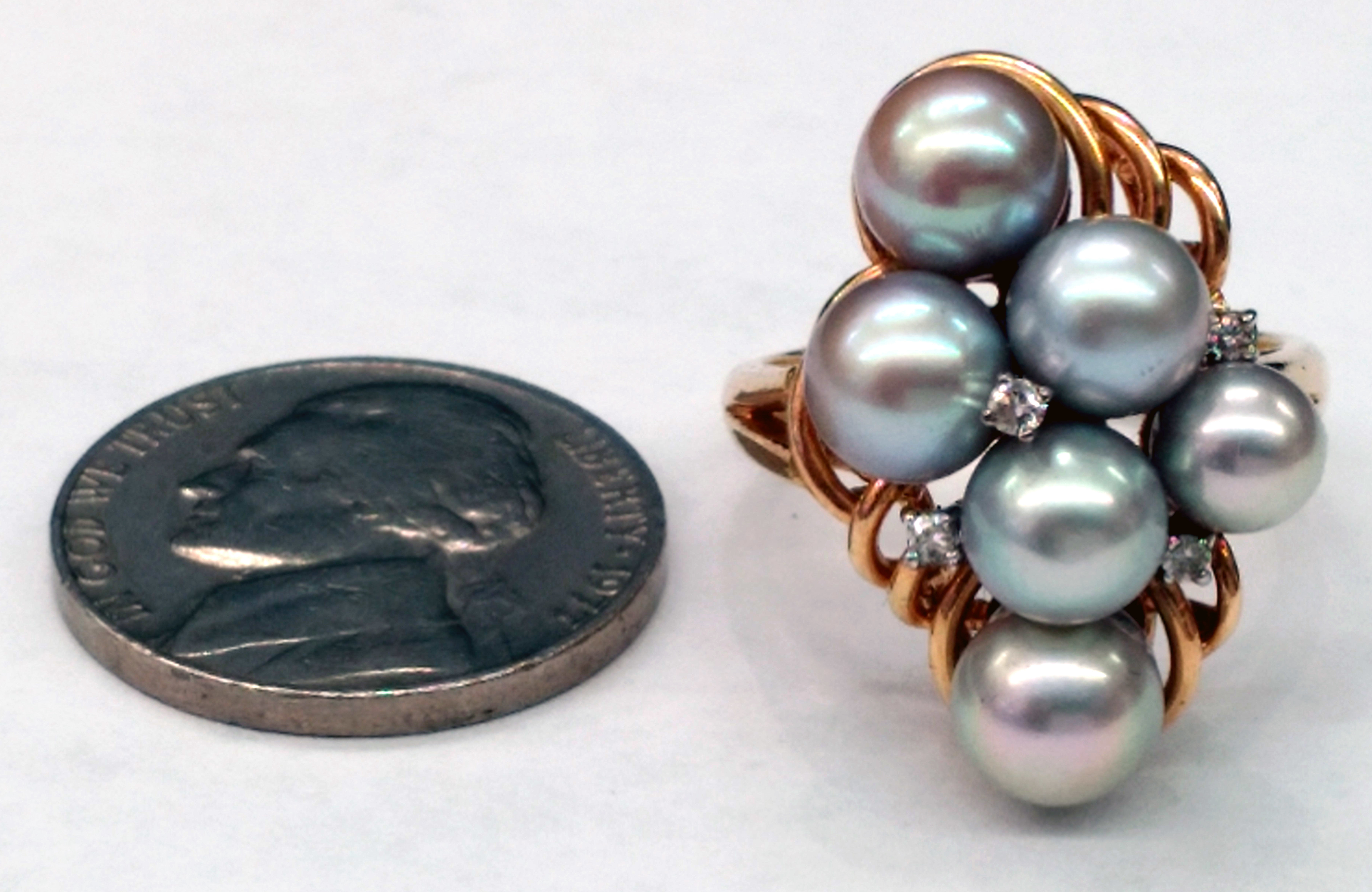 Bluish Gray Pearl Cluster with Diamonds 14kt Yellow Gold Ring - Size 7
