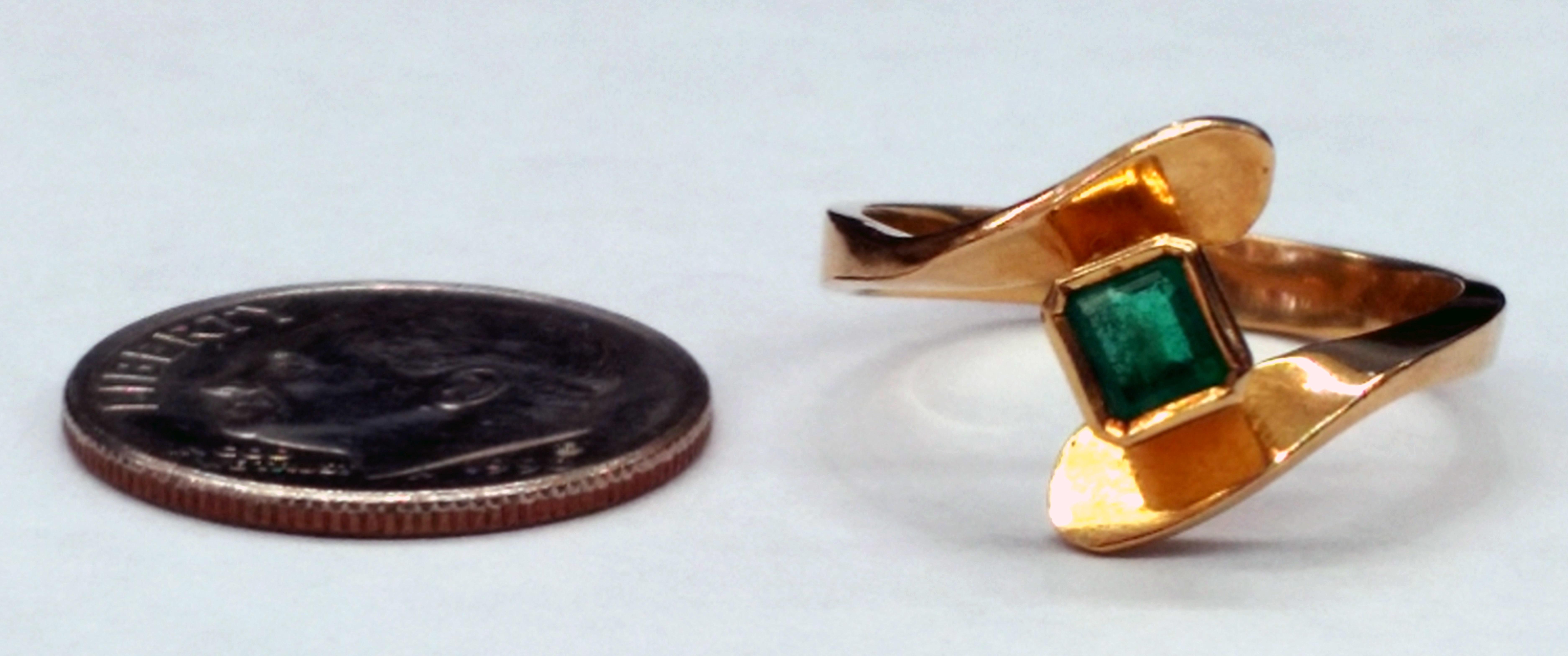 Emerald Cut Emerald 14kt Yellow Gold Bypass Ring - Size 6 1/2
