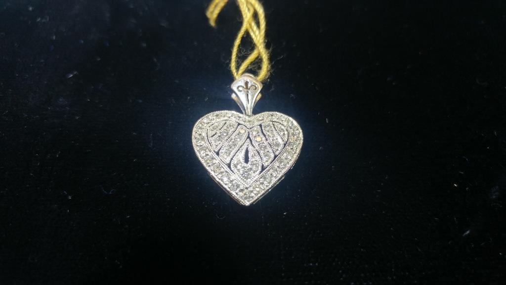 18K White Gold Diamond Heart Pendant  .33 ctw