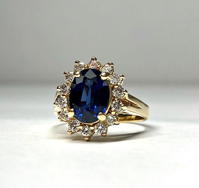14K Yellow Gold 2.33ct. Natural Blue Sapphire Diamond Ring Size 7 I-12939
