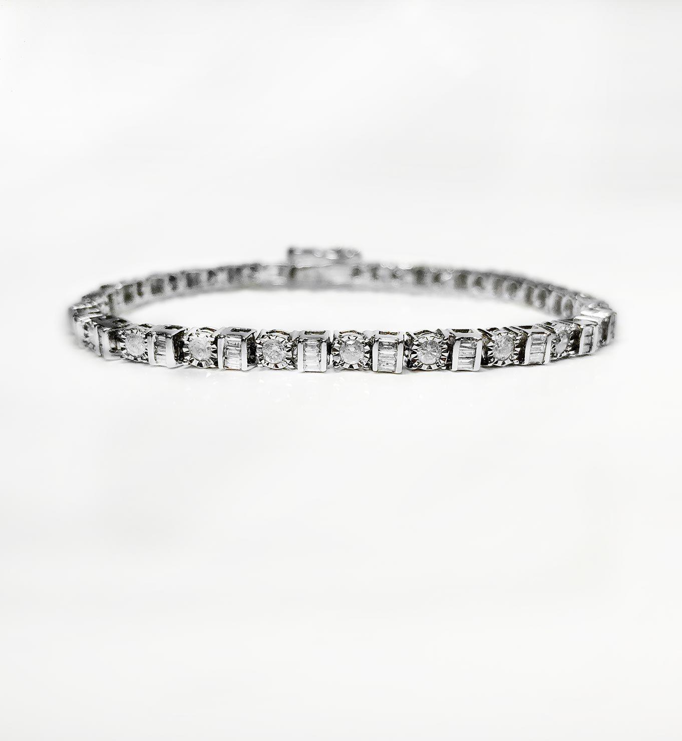 14K White Gold 1.50tcw Diamonds Tennis Bracelet I-12940