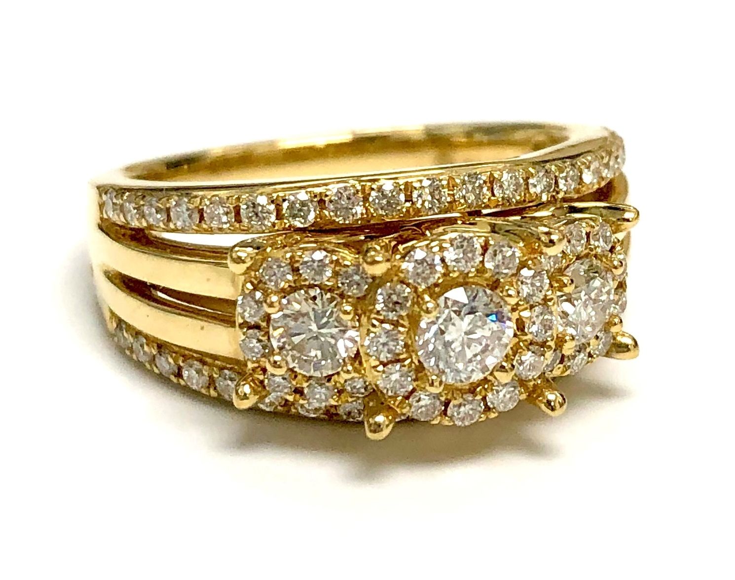14K Yellow Gold 1.0tcw Diamonds Engagement Ring Size 7 I-12945