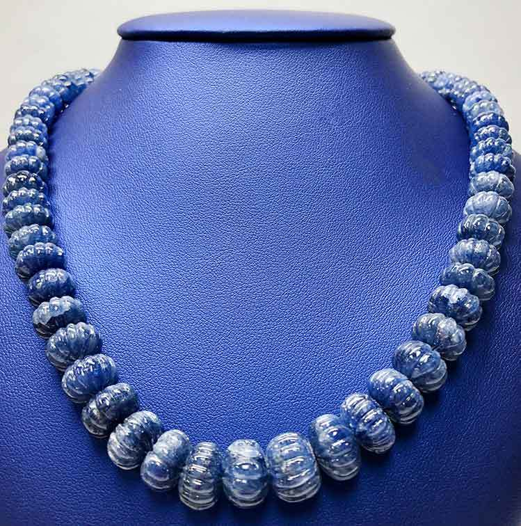 589.08tcw Round Carved Beaded Blue Sapphire Bead Necklace I-12948