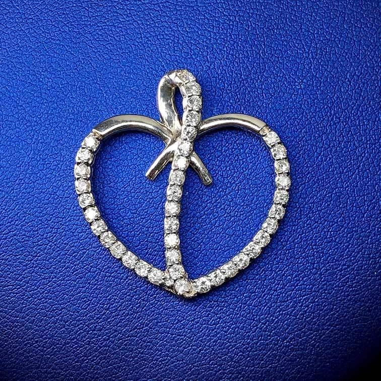 14K White Gold 0.75tcw Diamonds Heart Shaped Pendant I-12955