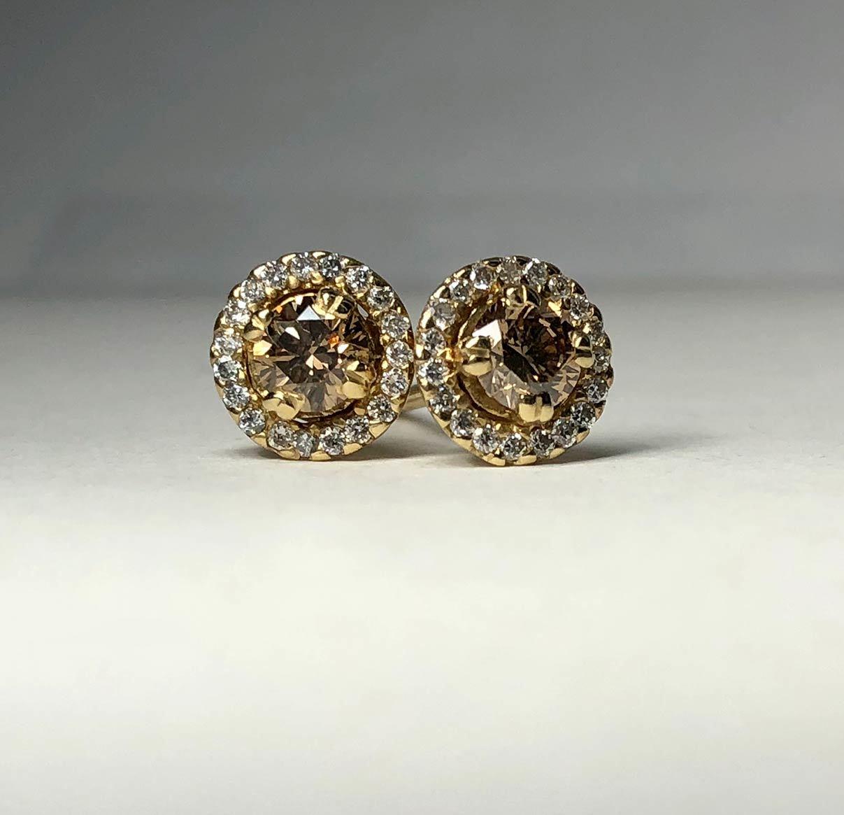 14K Yellow Gold 1.24tcw Diamonds Halo Design Earrings I-12957