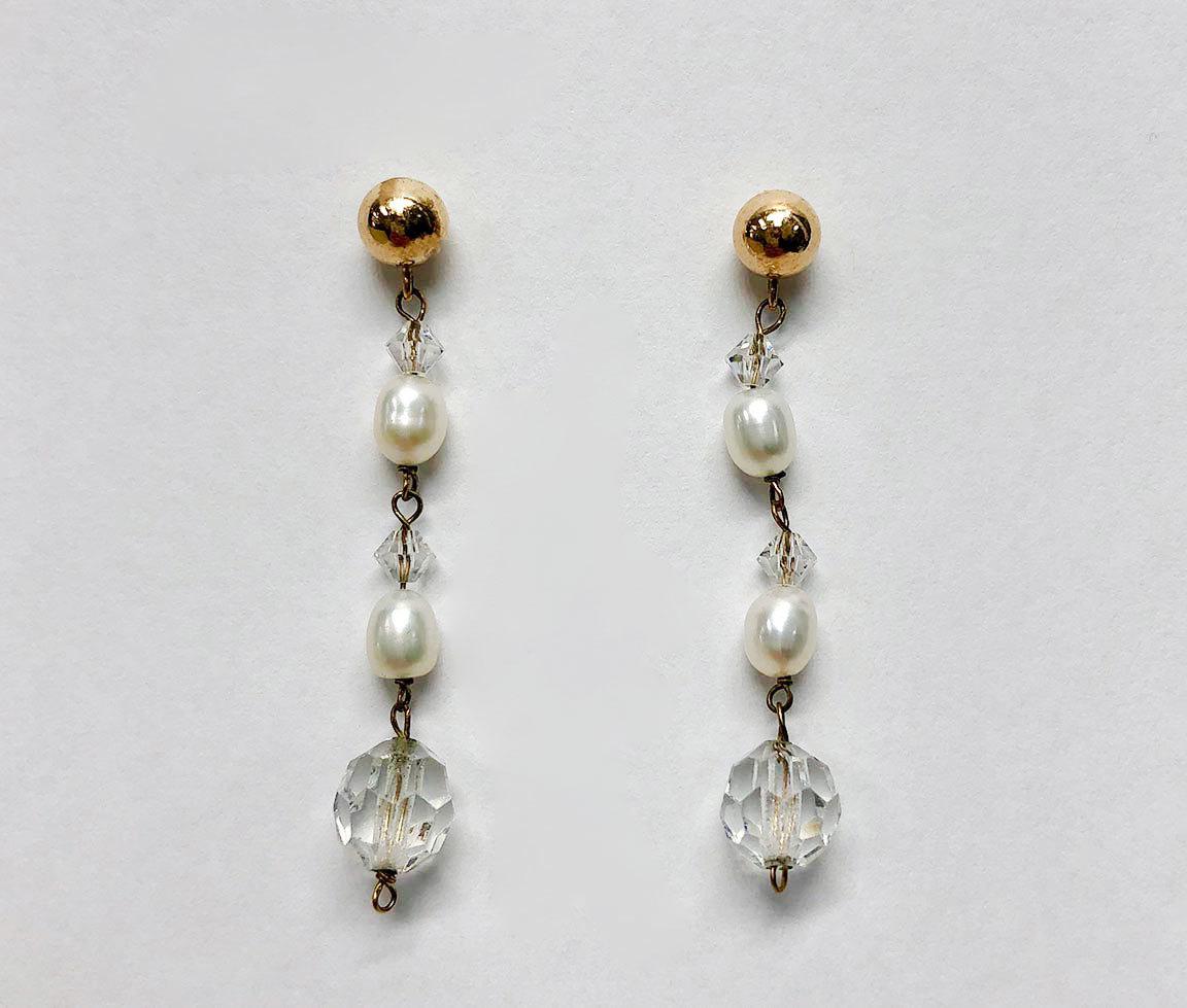 Ladies 14K Yellow Gold Pearl Dangle Earrings I-12960