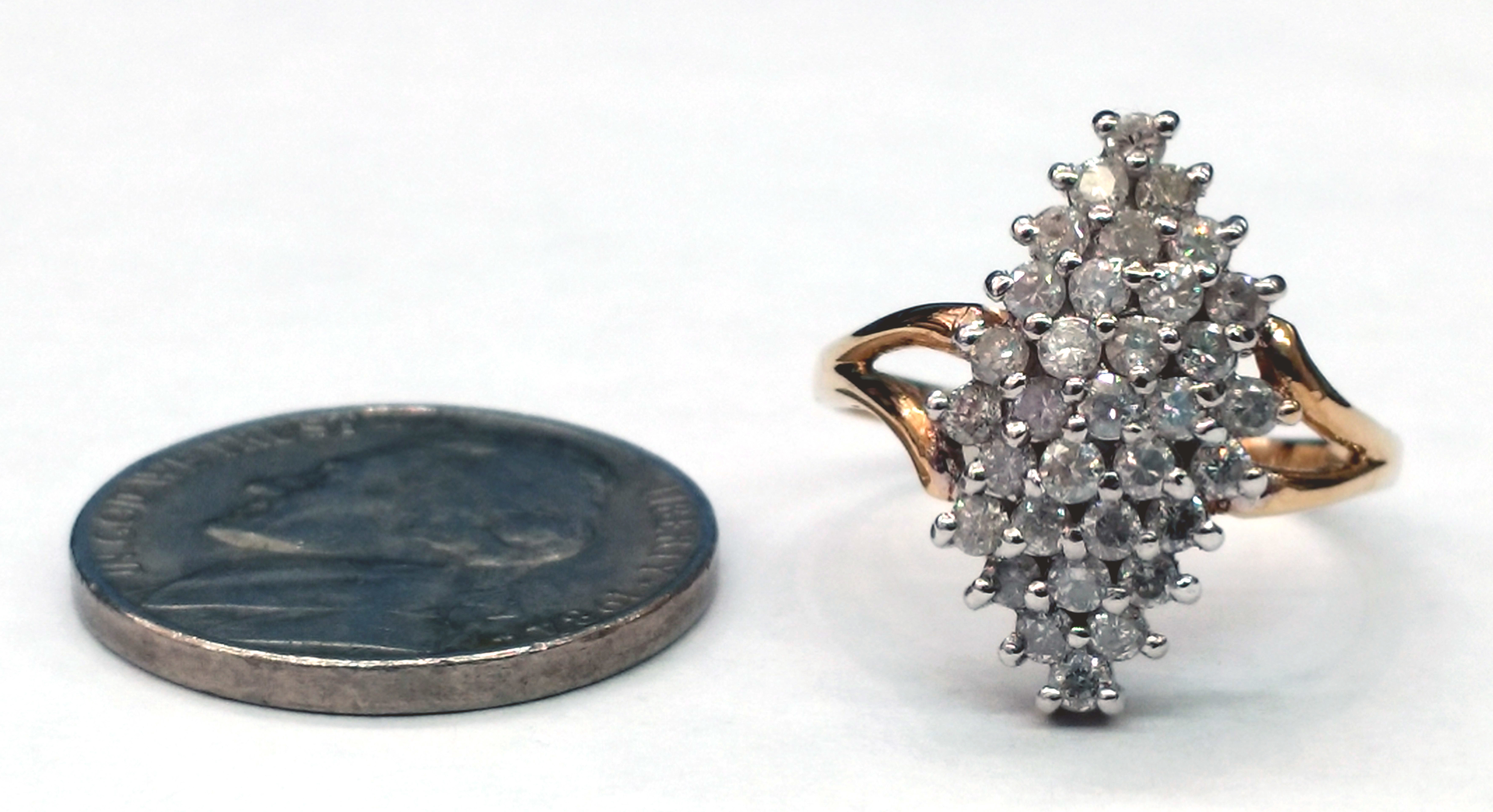Round Brilliant Cut Diamond Cluster 14kt Yellow Gold Ring - Size 7
