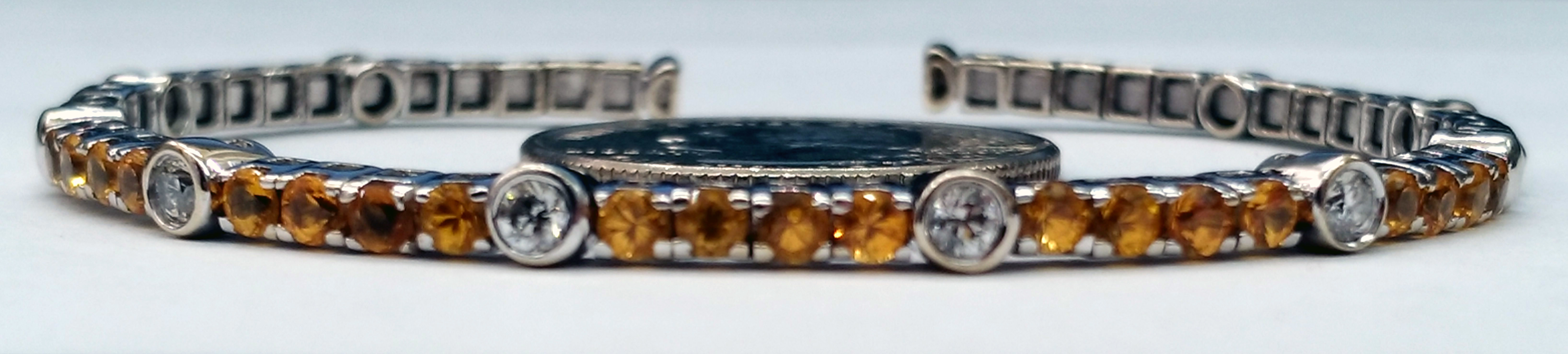Yellow Sapphires and Diamonds 18kt White Gold Flexible 6